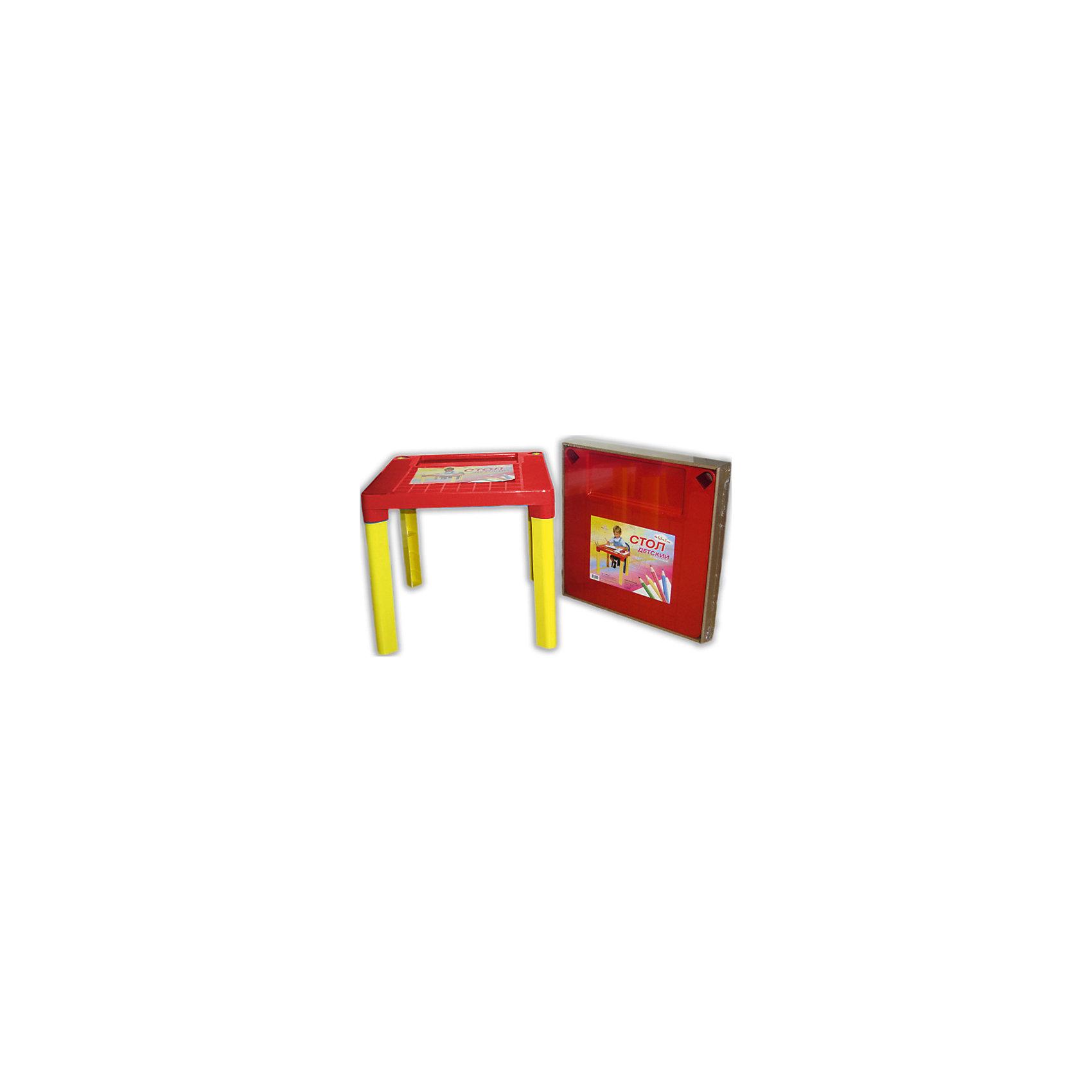 Красно-желтый стол МалышСтол - незаменимая вещь в детской! Малышам понравится иметь свое собственное место для игр, чаепитий с игрушками и друзьями, занятий и даже обеда. Благодаря специальным выемкам, на столе можно расположить карандаши, фломастеры, кисточки и другие мелкие предметы - они не будут мешаться и скатываться. Столик выполнен из высококачественного прочного пластика, легко моется или протирается влажной губкой. Яркий пластиковый стол с изображениями любимых героев прекрасно впишется в интерьер комнаты и обязательно понравится любому ребенку! <br><br>Дополнительная информация:<br><br>- Материал: пластик.<br>- Высота стола: 47 см.<br>- Размер столешницы: 51х51 см.<br>- Удобные выемки для мелких предметов. <br><br>Детский стол Малыш, красно-желтый, можно купить в нашем магазине.<br><br>Ширина мм: 510<br>Глубина мм: 510<br>Высота мм: 475<br>Вес г: 1000<br>Возраст от месяцев: 36<br>Возраст до месяцев: 108<br>Пол: Унисекс<br>Возраст: Детский<br>SKU: 4718423