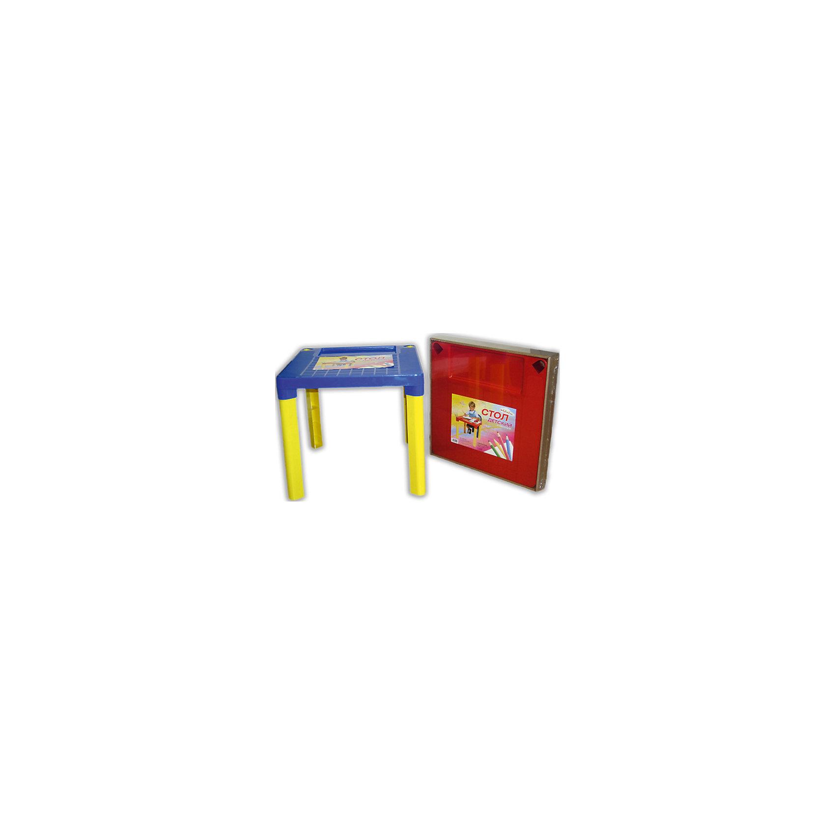 Сине-желтый стол МалышМебель<br>Стол - незаменимая вещь в детской! Малышам понравится иметь свое собственное место для игр, чаепитий с игрушками и друзьями, занятий и даже обеда. Благодаря специальным выемкам, на столе можно расположить карандаши, фломастеры, кисточки и другие мелкие предметы - они не будут мешаться и скатываться. Столик выполнен из высококачественного прочного пластика, легко моется или протирается влажной губкой. Яркий пластиковый стол с изображениями любимых героев прекрасно впишется в интерьер комнаты и обязательно понравится любому ребенку! <br><br>Дополнительная информация:<br><br>- Материал: пластик.<br>- Высота стола: 47 см.<br>- Размер столешницы: 51х51 см.<br>- Удобные выемки для мелких предметов. <br><br>Детский стол Малыш, сине-желтый, можно купить в нашем магазине.<br><br>Ширина мм: 510<br>Глубина мм: 510<br>Высота мм: 475<br>Вес г: 1000<br>Возраст от месяцев: 36<br>Возраст до месяцев: 108<br>Пол: Унисекс<br>Возраст: Детский<br>SKU: 4718424