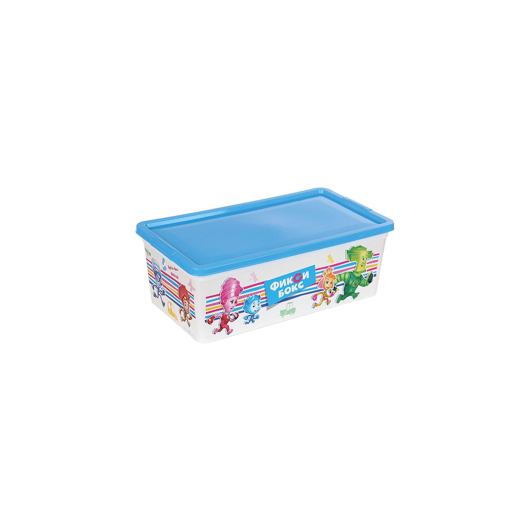 Коробка для мелочей Фиксики, бело-голубая, 5,5 литровКоробка для мелочей Фиксики выполнена из высококачественного прочного пластика безопасного для детей. Контейнер с изображениями любимых героев отлично впишется в интерьер детской и порадует ребенка. Коробка имеет крышку, которая легко и при этом очень надежно и плотно закрывается, позволяя сохранить все мелочи и игрушки в одном месте. <br><br>Дополнительная информация:<br><br>- Материал: пластик.<br>- Размер: 34х19х12 см.<br><br>Коробку для мелочей Фиксики, бело-голубую, 5,5 литров, можно купить в нашем магазине.<br><br>Ширина мм: 340<br>Глубина мм: 190<br>Высота мм: 120<br>Вес г: 150<br>Возраст от месяцев: 12<br>Возраст до месяцев: 120<br>Пол: Унисекс<br>Возраст: Детский<br>SKU: 4718430