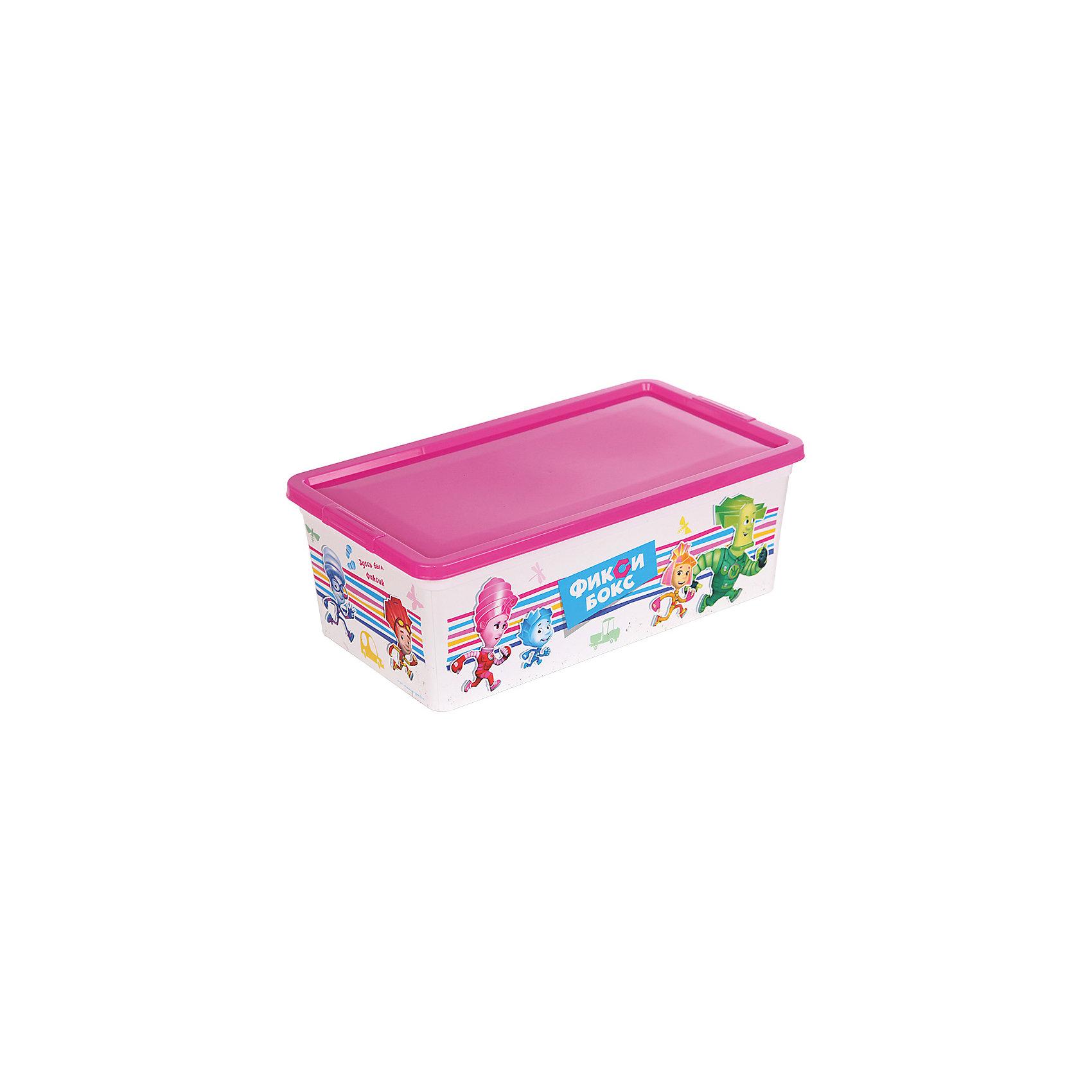 Коробка для мелочей Фиксики, бело-розовая, 5,5 литровКоробка для мелочей Фиксики выполнена из высококачественного прочного пластика безопасного для детей. Контейнер с изображениями любимых героев отлично впишется в интерьер детской и порадует ребенка. Коробка имеет крышку, которая легко и при этом очень надежно и плотно закрывается, позволяя сохранить все мелочи и игрушки в одном месте. <br><br>Дополнительная информация:<br><br>- Материал: пластик.<br>- Размер: 34х19х12 см.<br><br>Коробку для мелочей Фиксики, бело-розовую, 5,5 литров, можно купить в нашем магазине.<br><br>Ширина мм: 340<br>Глубина мм: 190<br>Высота мм: 120<br>Вес г: 150<br>Возраст от месяцев: 12<br>Возраст до месяцев: 120<br>Пол: Унисекс<br>Возраст: Детский<br>SKU: 4718431