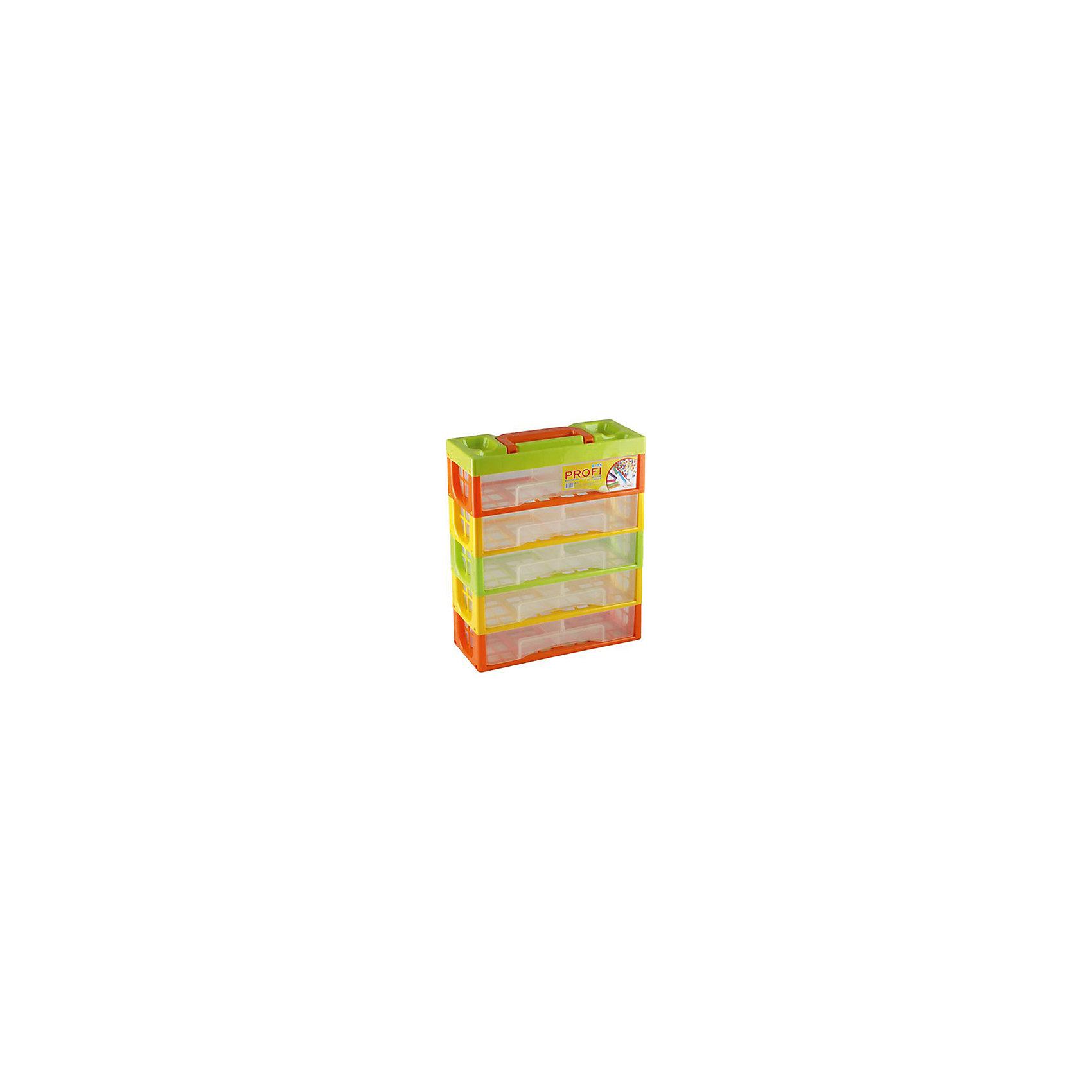 Мультибокс Профи Kids, 5 секцийМультибокс Профи Kids - прекрасный вариант для хранения мелких вещей, игрушек, деталей конструктора, канцелярских принадлежностей. Мультибокс выполнен из высококачественного прочного пластика, имеет 5 секций и удобную ручку для переноски. <br><br>Дополнительная информация:<br><br>- Материал: пластик.<br>- Размер:  32х14х38 см.<br>- Размер одного ящика: 30х12х7 см.<br>- Ящики разделены на 2 отделения. <br><br>Мультибокс Профи Kids, 5 секций, можно купить в нашем магазине.<br><br>Ширина мм: 320<br>Глубина мм: 140<br>Высота мм: 380<br>Вес г: 300<br>Возраст от месяцев: 12<br>Возраст до месяцев: 120<br>Пол: Унисекс<br>Возраст: Детский<br>SKU: 4718432