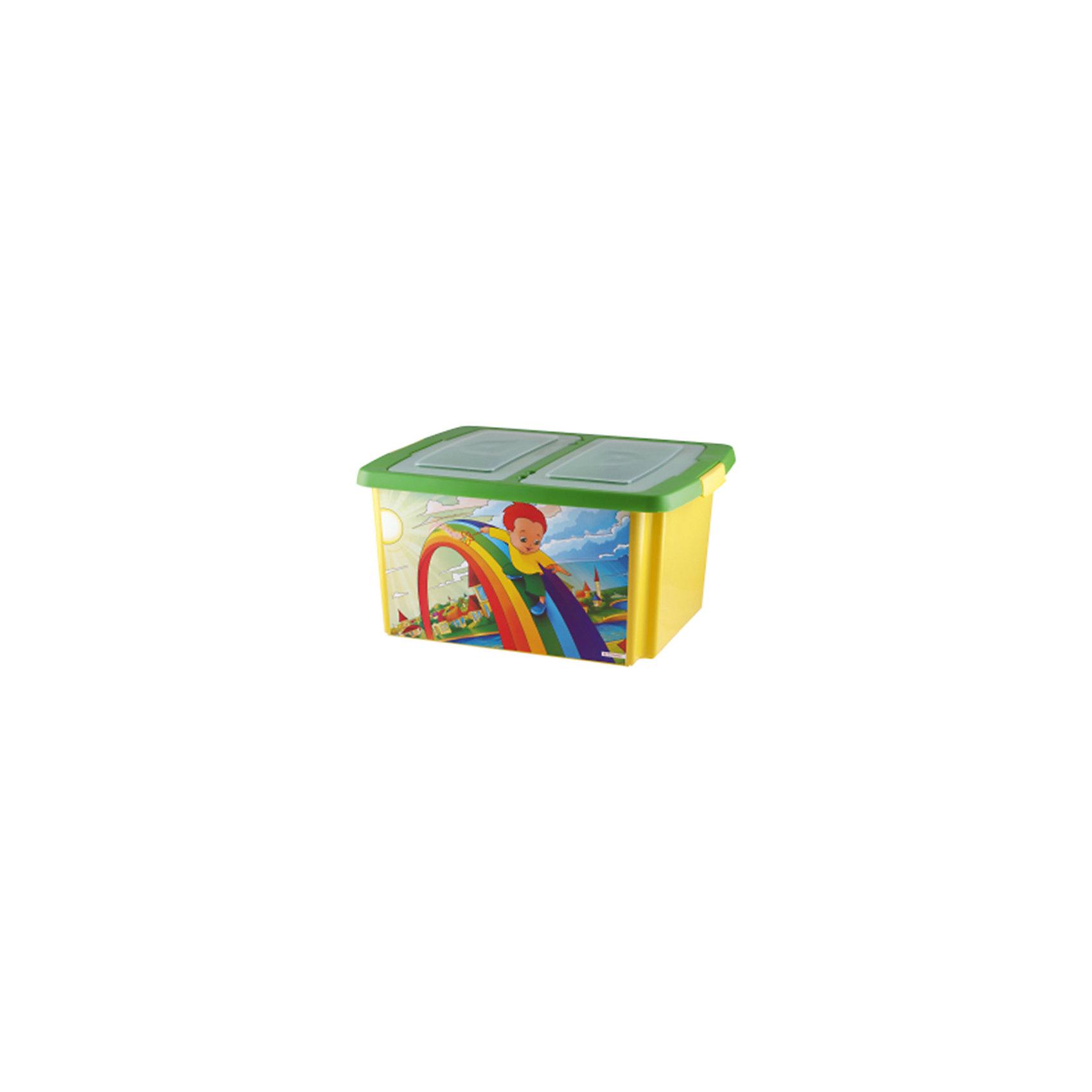 Ящик для игрушек Сюрприз - РадугаУдобный и практичный контейнер - прекрасный вариант для хранения вещей, книг, игрушек.  Детский ящик Сюрприз изготовлен из высококачественного прочного пластика, легко открывается, выполнен в яркой цветовой гамме, украшен рисунками. Он обязательно понравится ребенку и прекрасно впишется в интерьер комнаты. <br><br>Дополнительная информация:<br><br>- Материал: пластик.<br>- Размер: 47х37х25 см.<br><br>Детский ящик Сюрприз, желто-салатовый (радуга), можно купить в нашем магазине.<br><br>Ширина мм: 470<br>Глубина мм: 370<br>Высота мм: 250<br>Вес г: 300<br>Возраст от месяцев: 12<br>Возраст до месяцев: 120<br>Пол: Унисекс<br>Возраст: Детский<br>SKU: 4718433