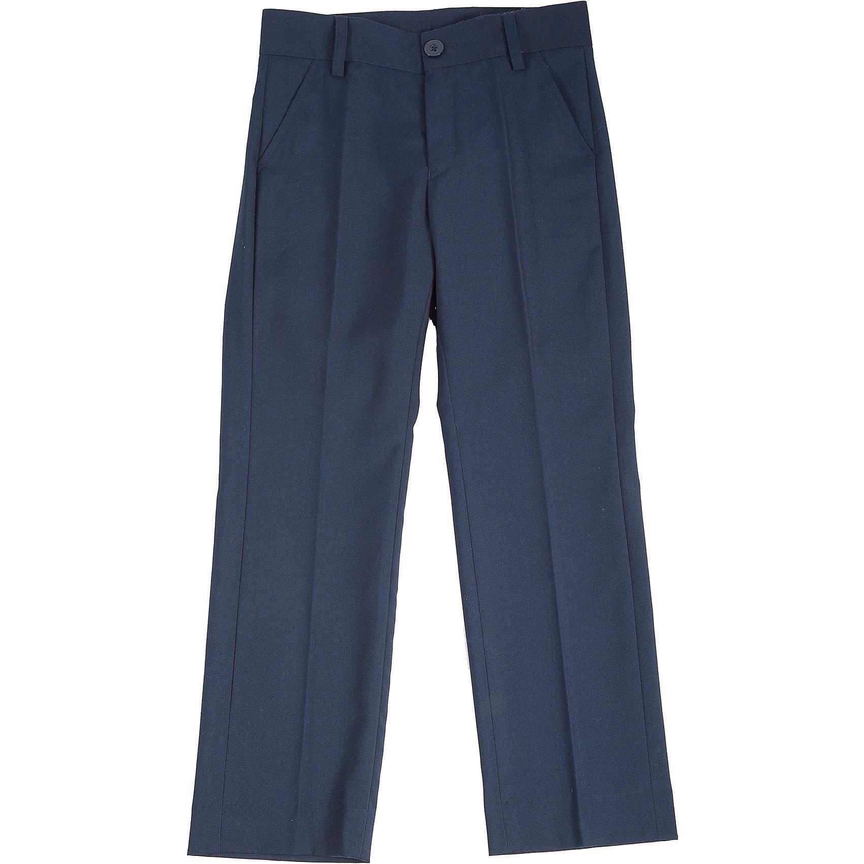 Брюки для мальчика Button BlueБрюки<br>Брюки для мальчика от известного бренда Button Blue<br>Классические темные брюки - оптимальное решение для каждого школьного дня! Брюки имеют модную посадку на фигуре, прекрасно сидят и хорошо держат форму. Внутренняя часть пояса имеет удобную регулировку объема.<br>Состав:<br>тк. верха:                  80% полиэстер, 20% вискоза  подкл.:  100%полиэстер<br><br>Ширина мм: 215<br>Глубина мм: 88<br>Высота мм: 191<br>Вес г: 336<br>Цвет: синий<br>Возраст от месяцев: 132<br>Возраст до месяцев: 144<br>Пол: Мужской<br>Возраст: Детский<br>Размер: 152,158,122,146,128,134,140<br>SKU: 4719130