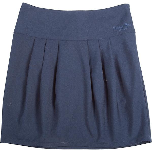 Юбка для девочки Button BlueЮбки<br>Юбка для девочки от известного бренда Button Blue<br>Строгая темная юбка на широкой кокетке необходима каждой школьнице. Крупные складки  спереди и сзади обеспечивают комфортный свободный силуэт, а также придают модели индивидуальные черты. На поясе изделия - небольшая фирменная вышивка.<br>Состав:<br>80% полиэстер, 20% вискоза<br>Ширина мм: 207; Глубина мм: 10; Высота мм: 189; Вес г: 183; Цвет: синий; Возраст от месяцев: 132; Возраст до месяцев: 144; Пол: Женский; Возраст: Детский; Размер: 152,134,140,146,158,128,122; SKU: 4719187;