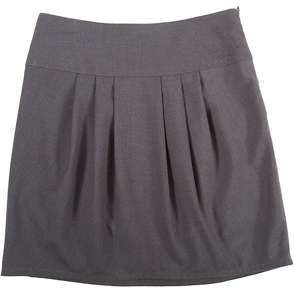 Юбка для девочки Button BlueЮбки<br>Юбка для девочки от известного бренда Button Blue<br>Строгая темная юбка на широкой кокетке необходима каждой школьнице. Крупные складки  спереди и сзади обеспечивают комфортный свободный силуэт, а также придают модели индивидуальные черты. На поясе изделия - небольшая фирменная вышивка.<br>Состав:<br>80% полиэстер, 20% вискоза<br>Ширина мм: 207; Глубина мм: 10; Высота мм: 189; Вес г: 183; Цвет: серый; Возраст от месяцев: 96; Возраст до месяцев: 108; Пол: Женский; Возраст: Детский; Размер: 134,128,140,158,152,146,122; SKU: 4719195;