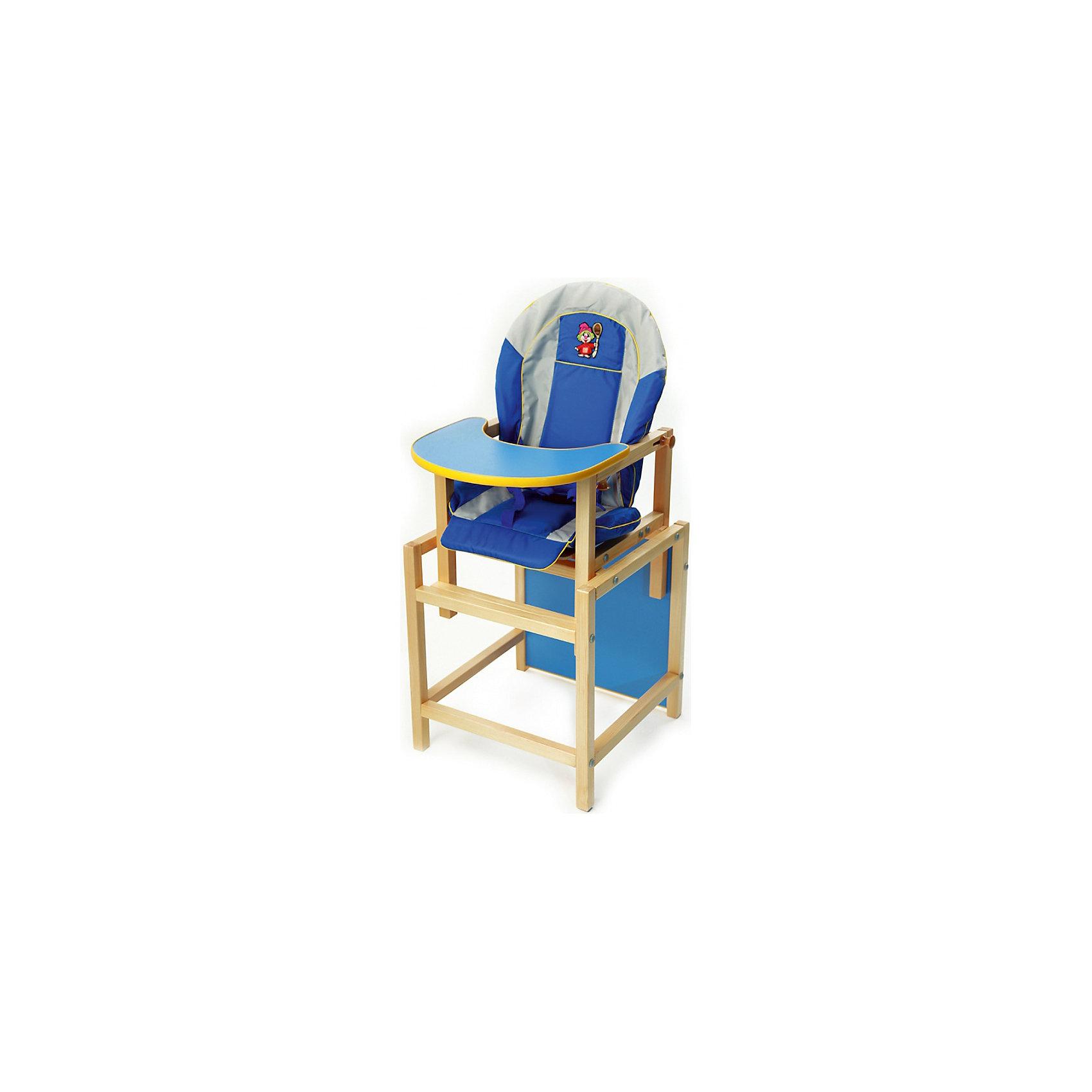 Стульчик-трансформер КУЗЯ, Вилт, синийКрасивый и удобный стульчик-трансформер позволит посадить ребенка, не беспокоясь при этом о его безопасности. Яркий цвет изделия привлечет внимание малыша. Эта модель очень удобна: стул можно применять как для кормления, он трансформируется в столик со стулом для игр, также на нем есть страховочная стропа-ограничитель, которая не позволяет малышу соскальзывать со стула.<br>Сиденье и спинка -  мягкие, комфортные чехлы с подлокотниками.! Конструкция  - очень устойчивая. Изделие произведено из качественных и безопасных для малышей материалов, оно соответствуют всем современным требованиям безопасности.<br> <br>Дополнительная информация:<br><br>цвет: разноцветный;<br>материал: дерево, текстиль;<br>скреплен евровинтами;<br>столик съемный;<br>легко раскладывается из высокого стула в комплект стол со стулом;<br>есть ограничительный ремень между ножек;<br>размеры стульчика: 37х46х53 см;<br>размеры стола: 43х48 х46 см.<br><br>Стульчик-трансформер Кузя от компании Вилт можно купить в нашем магазине.<br><br>Ширина мм: 620<br>Глубина мм: 730<br>Высота мм: 1030<br>Вес г: 9700<br>Возраст от месяцев: 6<br>Возраст до месяцев: 36<br>Пол: Унисекс<br>Возраст: Детский<br>SKU: 4720016