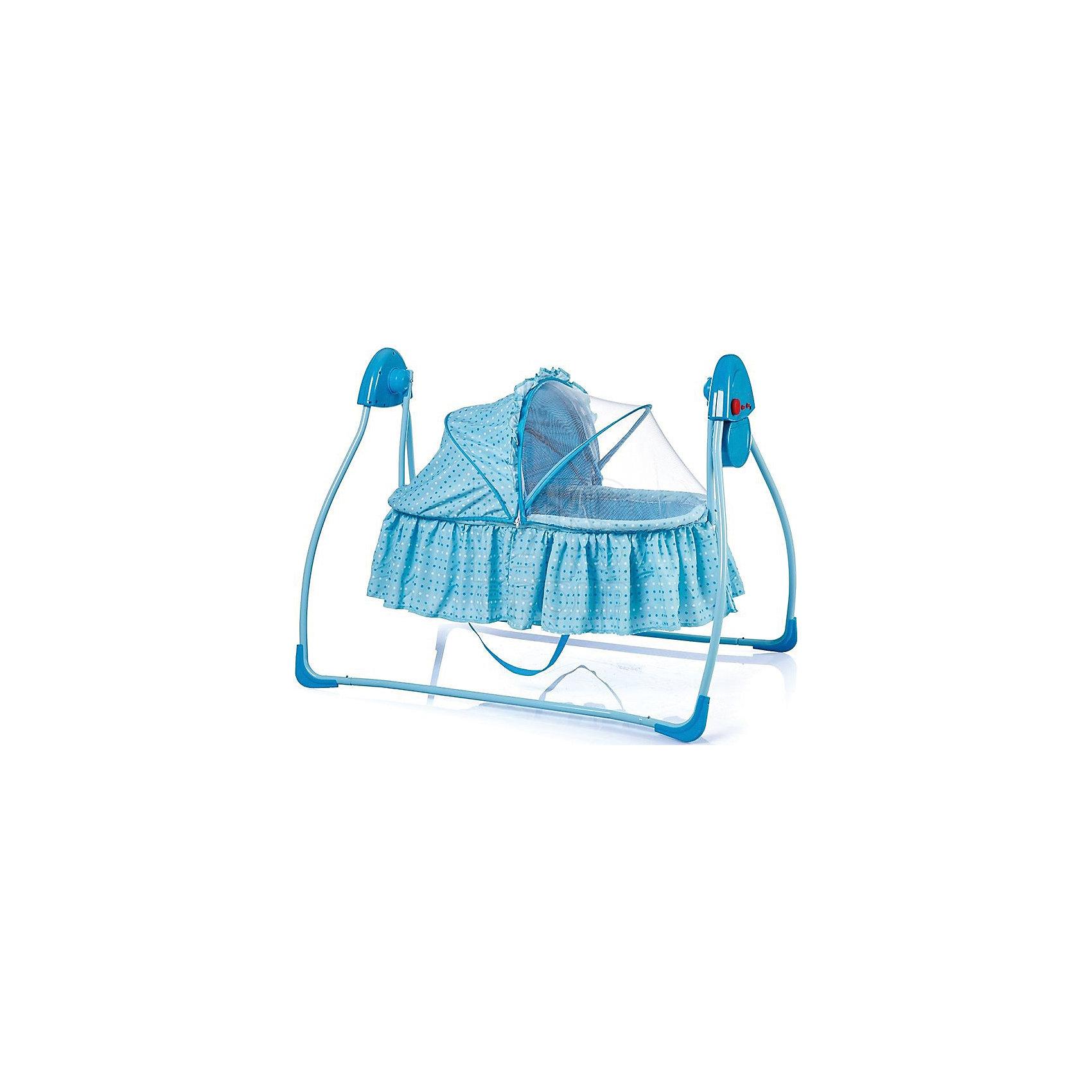 Электрокачели CULLA, Bambola, голубойКрасивые электрокачели от Bambola позволят уложить ребенка спать, не беспокоясь при этом о его безопасности. Приятный цвет качелей способствует успокоению малыша. Эта модель очень удобна: есть 5 скоростей качания, 12 мелодий, 3 режима работы качелей (8, 15 и 30 минут). На них можно включить свет.<br>Качели могут работать от 2 батареек АА. Конструкция  - очень устойчивая. Съемный чехол можно стирать, подушка идет в комплекте, есть 5-точечный ремень безопасности. Изделие произведено из качественных и безопасных для малышей материалов, оно соответствуют всем современным требованиям безопасности. <br> <br>Дополнительная информация:<br><br>цвет: голубой;<br>5 скоростей качания;<br>12 мелодий;<br>может работать от 2 батареек АА;<br>3 режима работы качелей (8, 15 и 30 минут);<br>со светом;<br>с адаптером+;<br>съемный чехол можно стирать;<br>подушка в комплекте;<br>5-точечный ремень безопасности;<br>1 положение спинки;<br>для детей до 9 месяцев;<br>внутренние размеры люльки: 80х43х27 см;<br>размеры упаковки: 51х13х93,5 см.<br><br>Электрокачели CULLA от компании Bambola можно купить в нашем магазине.<br><br>Ширина мм: 500<br>Глубина мм: 130<br>Высота мм: 935<br>Вес г: 4700<br>Возраст от месяцев: 0<br>Возраст до месяцев: 6<br>Пол: Унисекс<br>Возраст: Детский<br>SKU: 4720029
