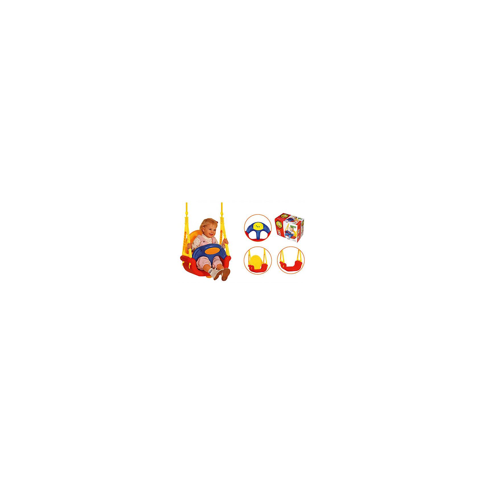 Качели подвесные 4+ Мелодия, Edu-PlayУдобные подвесные качели-трасформер позволят занять ребенка, не беспокоясь при этом о его безопасности. Яркий цвет качелей привлечет внимание малыша. Безопасность ребенка во время качания обеспечивает бампер и мягкий ограничитель, который не даст малышу выпасть. Конструкция надежно крепится, крепежные элементы входят в комплект.<br>Качели можно легко снять. Конструкция  - очень прочная, каркас выполнен из массива березы. Изделие произведено из качественных и безопасных для малышей материалов, оно соответствуют всем современным требованиям безопасности.<br> <br>Дополнительная информация:<br><br>цвет: разноцветный;<br>материал: дерево, текстиль;<br>снабжены музыкальной панелью;<br>удобное сиденье;<br>3 варианта сборки сидения;<br>размеры: 82,5х54х50,5 см;<br>вес: 3,98 кг;<br>возраст: от 6-ти месяцев до 6 лет.<br><br>Качели подвесные 4+ Мелодия от компании Edu-Play можно купить в нашем магазине.<br><br>Ширина мм: 393<br>Глубина мм: 260<br>Высота мм: 480<br>Вес г: 4600<br>Возраст от месяцев: 6<br>Возраст до месяцев: 72<br>Пол: Унисекс<br>Возраст: Детский<br>SKU: 4720040