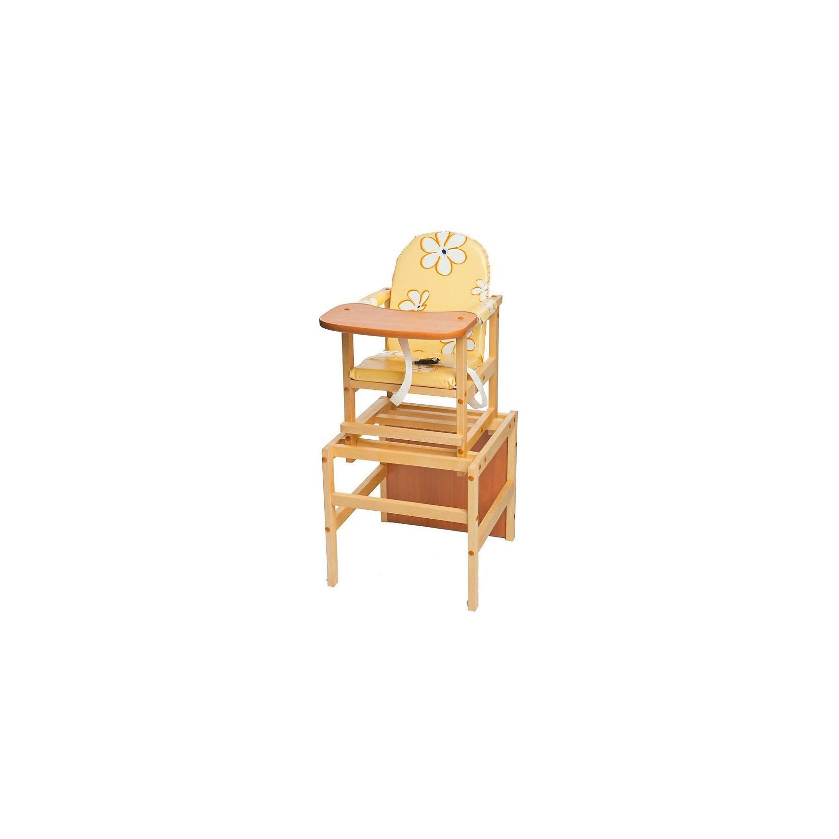 Стульчик-трансформер Октябренок Ромашки, ПМДК, желтыйПрочный и удобный стульчик-трансформер позволит посадить ребенка, не беспокоясь при этом о его безопасности. Яркий цвет обивки изделия привлечет внимание малыша. Эта модель очень удобна: стул можно применять как для кормления, он трансформируется в столик со стулом для игр, также на нем есть ремни безопасности. Когда ребенок подрастет, стульчик и столик можно использовать для рисования, лепки, и последующего кормления.<br>Сиденье и спинка -  мягкие, из непромокаемой ткани! Конструкция  - очень устойчивая. Изделие произведено из качественных и безопасных для малышей материалов (массив березы), оно соответствуют всем современным требованиям безопасности.<br> <br>Дополнительная информация:<br><br>материал: толстый ламинат, массив березы;<br>столешница широкая и овальная;<br>обивка мягкая сшита из непромокаемой бязи;<br>легко раскладывается из высокого стула в комплект стол со стулом;<br>размер: 48х36х52 см;<br>возраст: от 6 месяцев до 5 лет.<br><br>Стульчик-трансформер Октябренок Ромашки, желтый, от компании ПМДК можно купить в нашем магазине.<br><br>Ширина мм: 480<br>Глубина мм: 360<br>Высота мм: 520<br>Вес г: 8000<br>Возраст от месяцев: 6<br>Возраст до месяцев: 36<br>Пол: Унисекс<br>Возраст: Детский<br>SKU: 4720061
