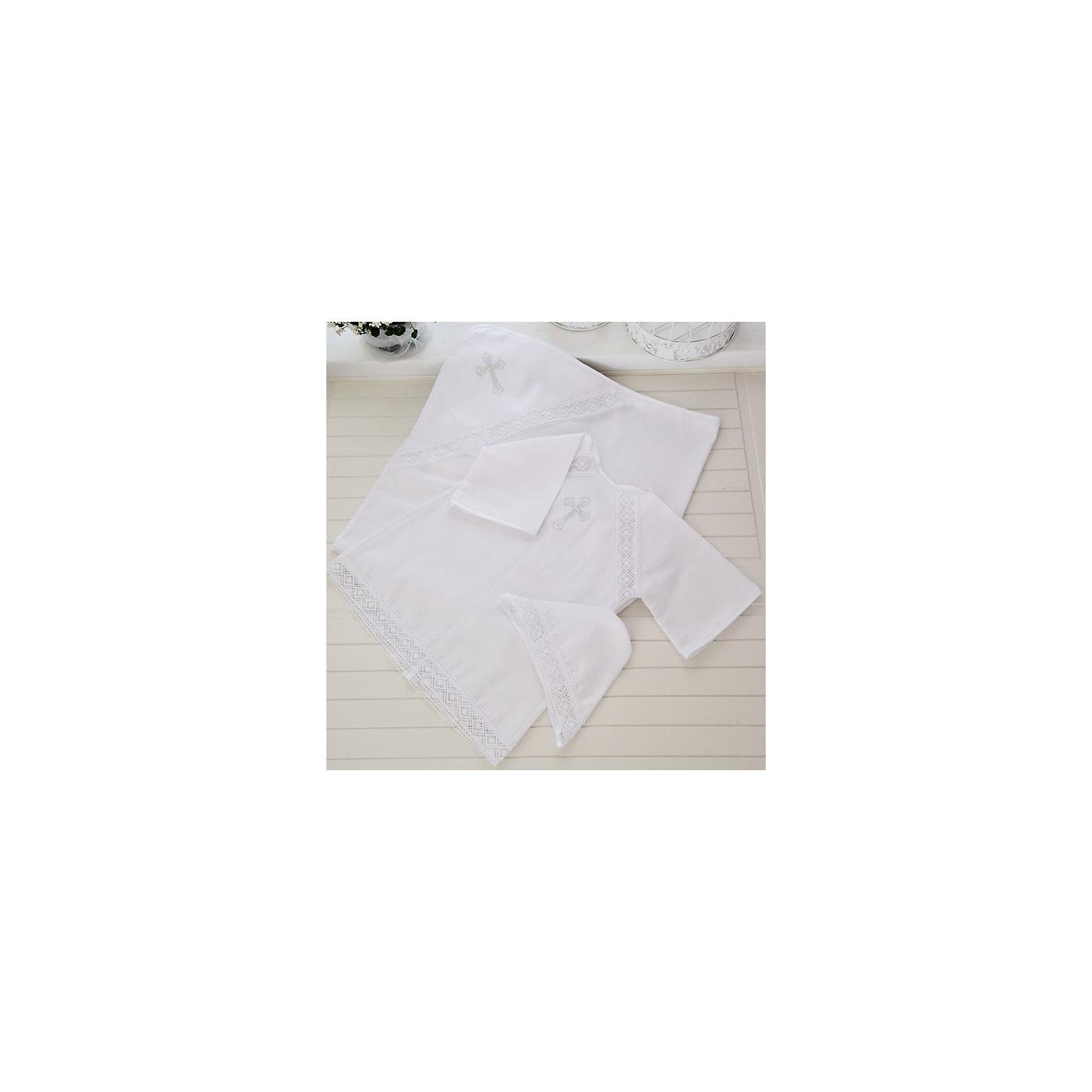 Арго Крестильный комплект 3 пред., 62-68р., Арго, белый крестильная одежда арго уголок с оборочкой 009 2н