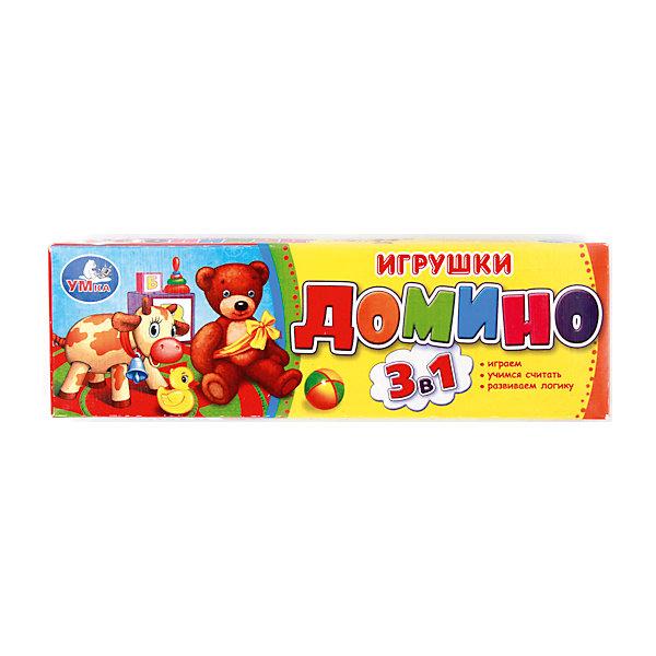 Домино 3-в-1, УмкаДомино<br>Домино - одна из самых популярных и интересных игр. В неё можно играть всей семьей! Этот набор сделан из пластика - качественного и безопасного для ребенка материала. Хранятся костяшки в удобной коробке.<br>На костяшках изображены игрушки, рядом с ними - цифры. Игра в такое домино поможет не только весело провести время, она позволит ребенку запоминать цифры в игровой форме, тренировать внимание, мышление и мелкую моторику.<br><br>Дополнительная информация:<br><br>цвет: разноцветный;<br>материал: пластик;<br>размер упаковки: 6x18x2 см.<br><br>Домино 3-в-1 от бренда Умка можно купить в нашем магазине<br>Ширина мм: 180; Глубина мм: 20; Высота мм: 60; Вес г: 80; Возраст от месяцев: 36; Возраст до месяцев: 84; Пол: Унисекс; Возраст: Детский; SKU: 4720257;
