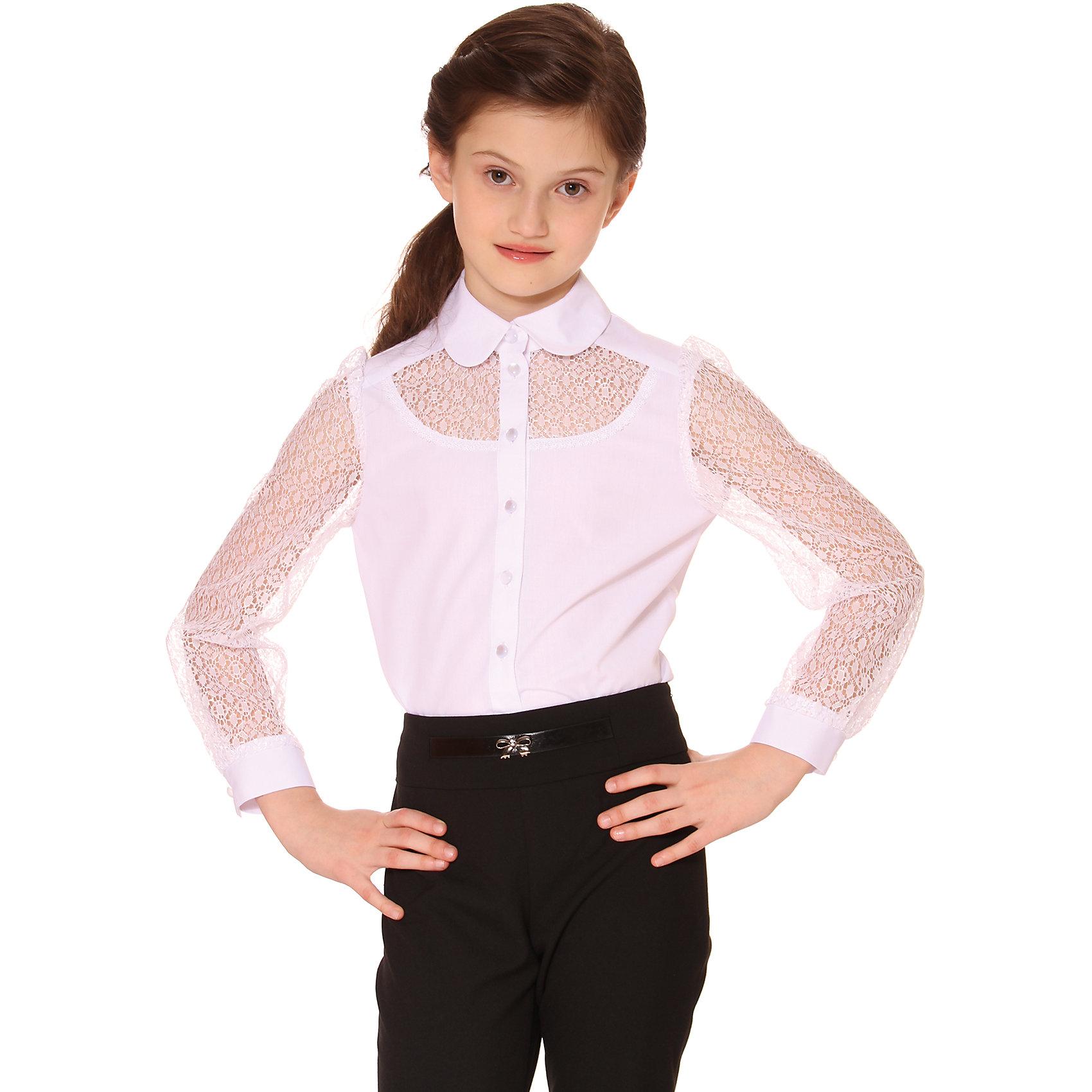 Блузка для девочки СменаБлузки и рубашки<br>Блузка для девочки от известного бренда Смена<br>Элегантная нарядная блузка с рукавами и вставками на переде из кружевного гипюра<br>Состав:<br>48%-вискоза;52%-полиэстер<br><br>Ширина мм: 186<br>Глубина мм: 87<br>Высота мм: 198<br>Вес г: 197<br>Цвет: белый<br>Возраст от месяцев: 72<br>Возраст до месяцев: 84<br>Пол: Женский<br>Возраст: Детский<br>Размер: 122,152,146,140,158,134,128<br>SKU: 4720390