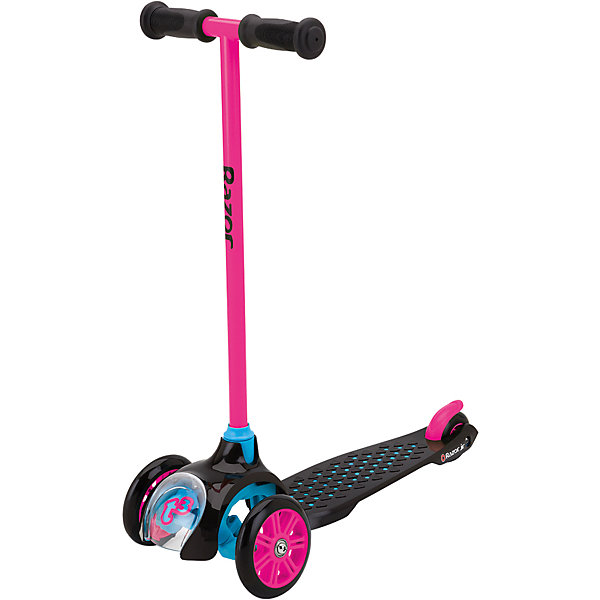 Детский трёхколёсный самокат T3, розовый, RazorСамокаты<br>Детский самокат Razor T3 создан специально для самых маленьких райдеров. Трёхколёсный самокат Razor T3 можно считать идеальным первым самокатом вашего ребёнка. Конструкция продумана до мелочей! Дека самоката выполнена из прочного пластика, который имеет яркие цвета. Пластик мягкий, без запаха. Три колеса дают полную уверенность в том, что ребёнок не упадёт с самоката. Самокат устойчив так же благодаря широкой платформе для ног. Большие полиуретановые колёса обеспечат мягкий и плавный ход. Самокат имеет лёгкую и прочную конструкцию - его вес всего 2,23 кг.<br><br>Трёхколёсный самокат для детей от 2 лет имеет маленький радиус поворота (28 грд.), что даёт отличный угол поворота, а значит, ребёнок сможет легко поворачивать наклоном руля, и при этом не падать. Надежная конструкция самоката призвана обезопасить ребёнка от любых повреждений. Фиксированная высота руля, нескладная конструкция - всё надёжно, ничего не болтается и не скрипит. Самокат по-американски безопасен для детей, даже на российских дорогах.<br><br>Одной из фишек самоката является то, что впереди детского самоката есть специально окошко, через которое видно, как работает механизм поворота руля. Ребёнку будет не только интересно кататься, но и наблюдать за всем тем, как же всё устроено. Детский самокат Razor T3 станет отличным подарком тем детям, кому вот-вот исполнится 2-3 года. Будьте уверены в том, что ребёнок оценит всё, начиная от яркой и красочной упаковки, заканчивая мягким приятным катанием на детском самокате.<br><br>Дополнительная информация:<br><br>Подходит под рост от 80 до 130 см.<br>Вес самоката 2,23 кг.<br>Максимальная нагрузка 22 кг.<br>Трёхколёсная конструкция самоката<br>Маленький радиус поворота, всего 28 грд. (руль хорошо наклоняется)<br>Полиуретановые колёса<br>Передние большие колёса диаметром 120 мм.<br>Фирменные подшипники RZR (ABEC5), обеспечивающие отличный накат<br>Нескользящая поверхность деки<br>Задний тормоз-крыло<br>Р