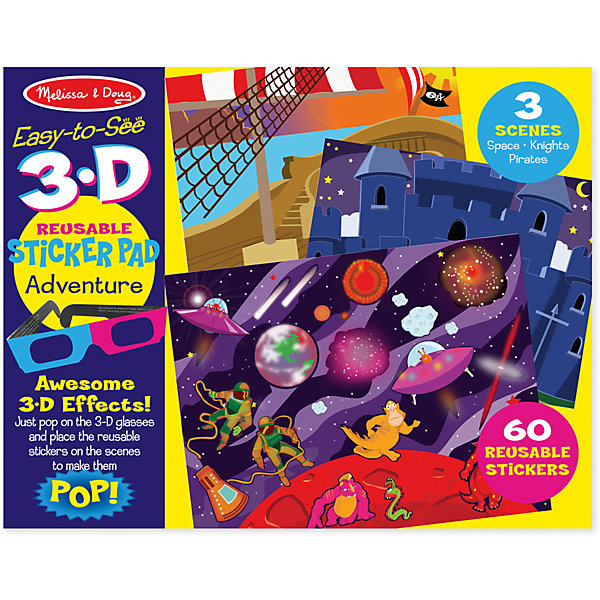 Набор стикеров с 3D-очками ПриключенияПоследняя цена<br>Набор стикеров с 3D-очками Приключения – это гигантский комплект состоящий из 110 многоразовых наклеек, здесь есть увлекательные наклейки космоса,  рыцарский замок и конечно же пиратский корабль, а чтобы приключение вашего ребенка было более завораживающие в комплекте идут 3D- очки, с помощью них, он увидит потрясающие 3D-эффекты, а благодаря тому, что стикеры многоразовые ваш малыш сможет фантазировать, создавать  и познавать этот чудесный мир сколько ему угодно!<br><br>Дополнительная информация: <br><br>-Комплектация:  3 сцены (Пираты, Рыцари, Космос), 110 многоразовых наклеек, фон, анаглифные 3D-очки.<br>-Размер упаковки: 36х1х28 см<br>-Вес в упаковке: 295 г<br><br>При помощи этого набора у вашего ребенка прекрасно разовьется внимание, воображение, мелкая  моторика рук, мышление, память и творческие способности.<br><br>Набор стикеров с 3D-очками Приключения  можно купить в нашем магазине.<br><br>Ширина мм: 360<br>Глубина мм: 10<br>Высота мм: 280<br>Вес г: 295<br>Возраст от месяцев: 48<br>Возраст до месяцев: 180<br>Пол: Унисекс<br>Возраст: Детский<br>SKU: 4720641