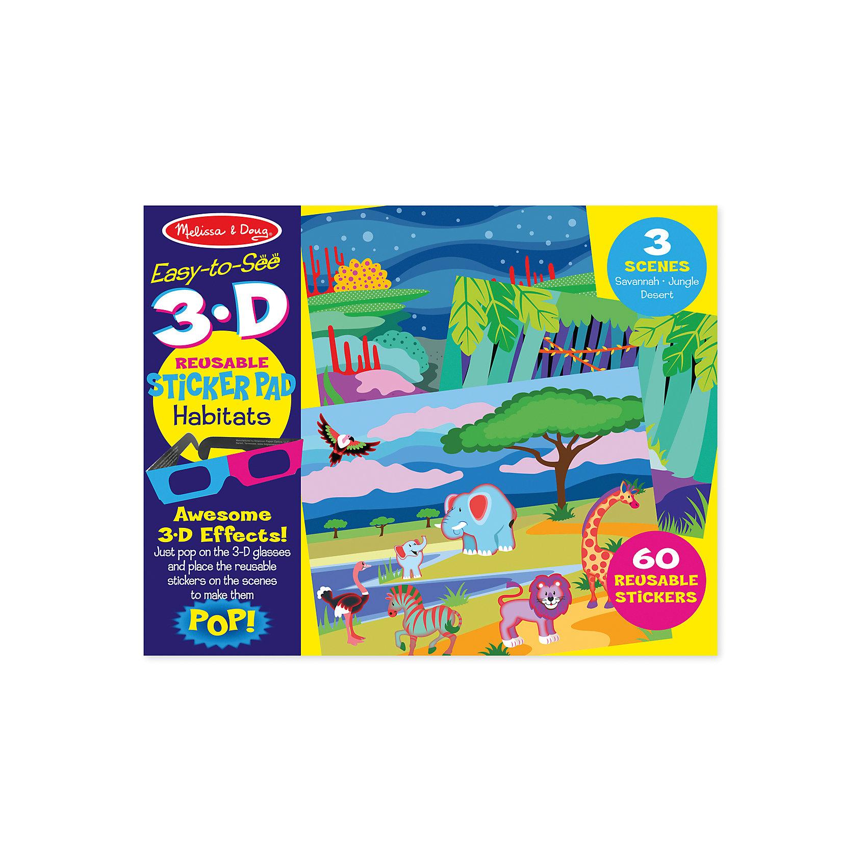 Набор стикеров с 3D-очками Среда обитанияАксессуары для творчества<br>Набор стикеров с 3D-очками Океан, Джунгли, Сафари – это комплект состоящий из трех сцен  и 109 многоразовых наклеек, здесь есть увлекательные стикеры дикой саванны, дремучих джунглей и открытого океана, а чтобы приключение вашего ребенка было более завораживающим в комплекте идут 3D- очки, с помощью них, он сможет увидеть потрясающие 3D-эффекты, а благодаря тому, что стикеры многоразовые ваш малыш сможет фантазировать, создавать  и познавать этот чудесный мир сколько ему угодно!<br><br>Дополнительная информация: <br><br>-Комплектация:  3 сцены (Океан, Джунгли, Сафари), 109 многоразовых наклеек, фон, анаглифные 3D-очки.<br>-Размер упаковки: 36х1х28 см<br>-Вес в упаковке: 295 г<br><br>Такой набор отлично тренирует логику и мелкую моторику, а так же развивает творческие навыки и художественное восприятие ребенка.<br><br>Набор стикеров с 3D-очками Приключения  можно купить в нашем магазине.<br><br>Ширина мм: 360<br>Глубина мм: 10<br>Высота мм: 280<br>Вес г: 295<br>Возраст от месяцев: 48<br>Возраст до месяцев: 180<br>Пол: Унисекс<br>Возраст: Детский<br>SKU: 4720642