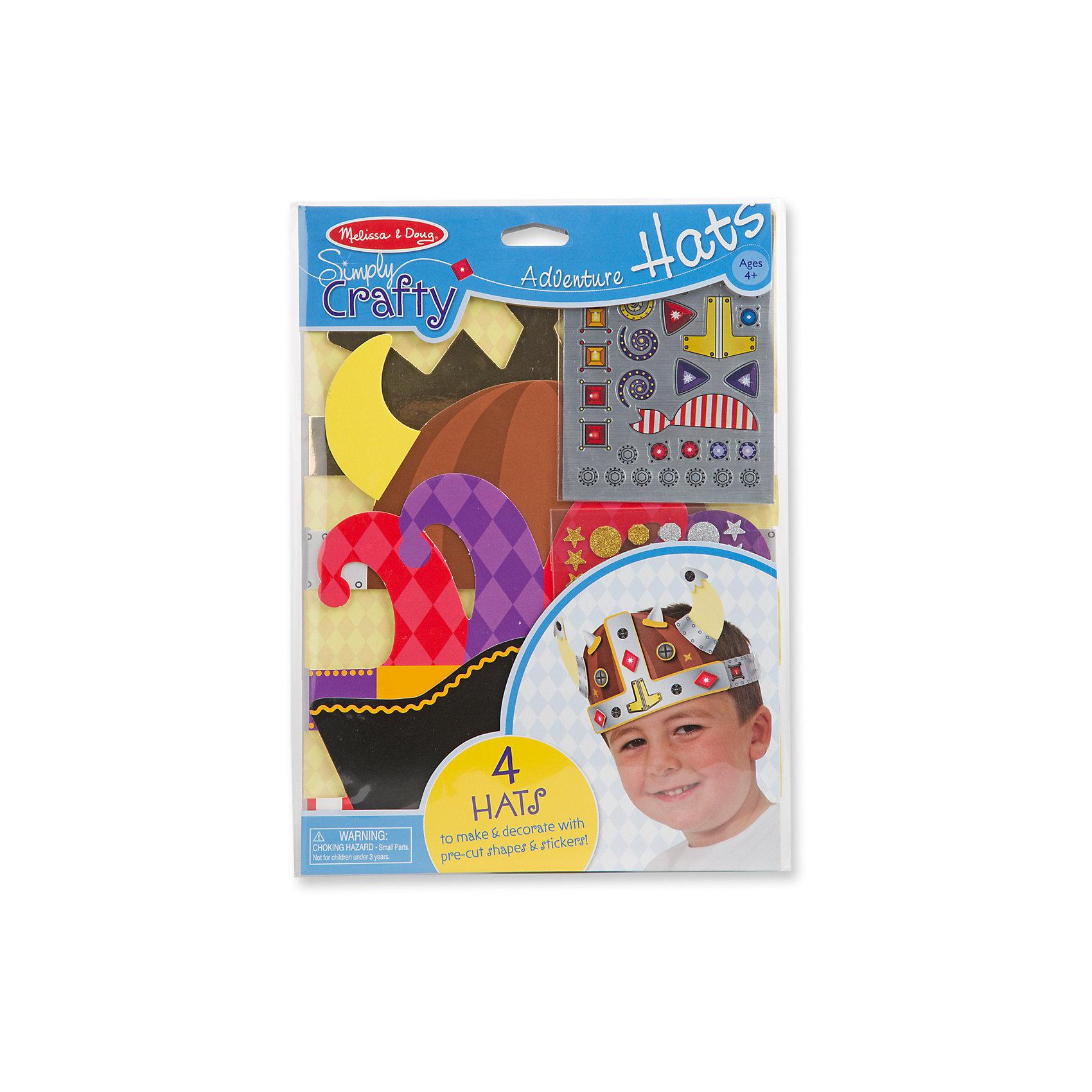Набор для создания головных уборов Приключения шляпыМаски и карнавальные костюмы<br>Набор для творчества Приключения шляпы - включает в себя всё необходимое, для создания и оформления четырех ярких и фантастических головных уборов. Ребенок сможет создать четыре невероятные приключенческие шляпы, так, как ему захочется, а  добавив многослойный эффект, получится что-то экстра- особенное!<br><br>Дополнительная информация: <br><br>-Комплектация: 4 основы головного убора, 34 блестящие наклейки, 39 блестящих наклеек, 80 нарезанных декоративных форм, липкая пена 200 квадратов.<br>-Размер упаковки: 22х1х30<br>-Вес в упаковке: 113 г<br><br>Такой творческий набор замечательно развивает художественные навыки, фантазию, воображение и мелкую моторику рук. <br><br>Набор для создания головных уборов Приключения шляпыможно купить в нашем магазине.<br><br>Ширина мм: 220<br>Глубина мм: 10<br>Высота мм: 300<br>Вес г: 113<br>Возраст от месяцев: 48<br>Возраст до месяцев: 180<br>Пол: Мужской<br>Возраст: Детский<br>SKU: 4720644