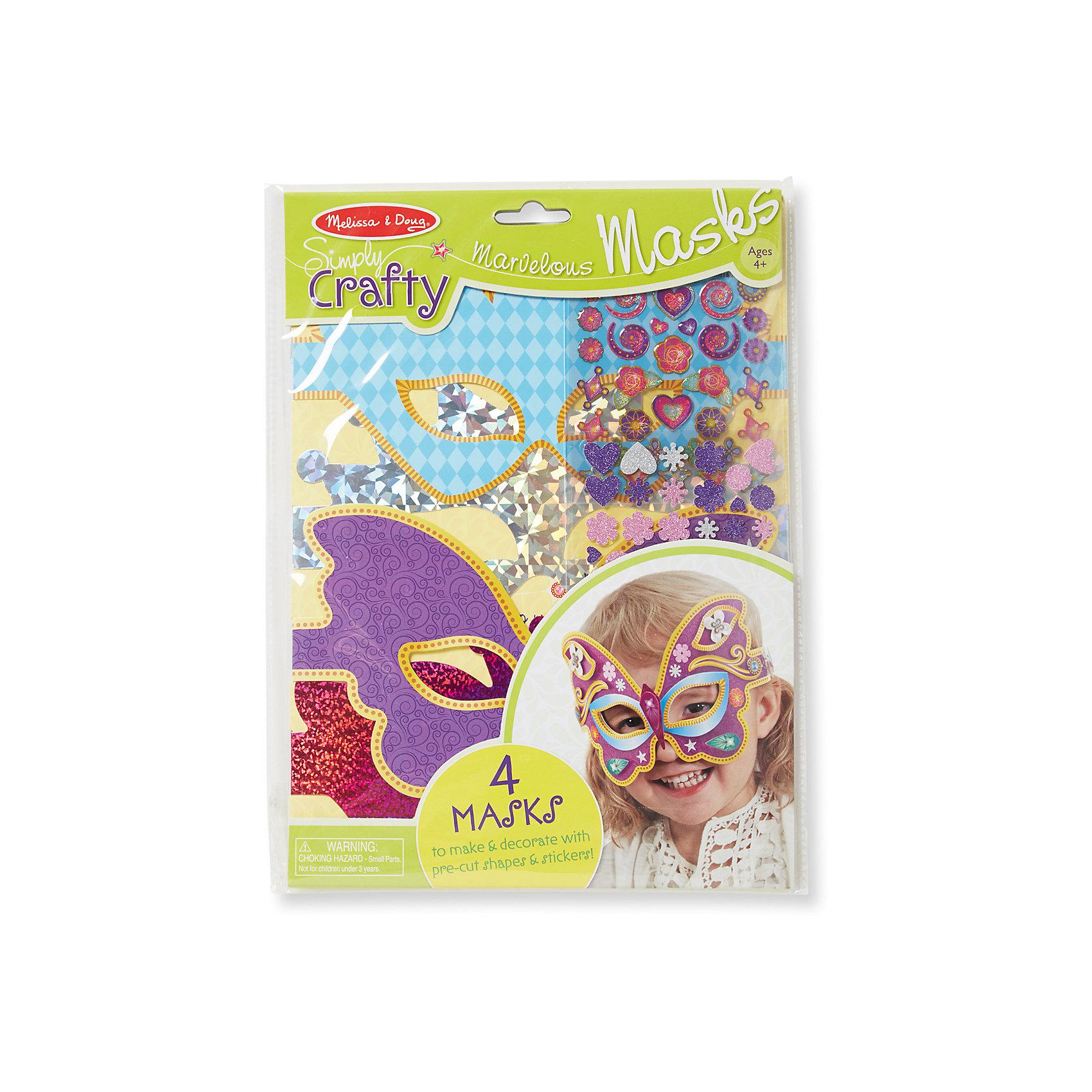 Набор для создания масок Великолепные маскиРукоделие<br>Благодаря набору «Великолепные маски» малышка почувствует себя настоящей принцессой! Комплект поможет развить фантазию ребенка, с помощью объемных стикеров, можно создать как гламурную карнавальную маску, так и самую очаровательную. <br><br>Дополнительная информация:<br><br>-Комплектация: 4 маски, стикеры.<br>-Размер упаковки: 22х1х29 см<br>-Вес в упаковке: 113 г<br><br>Этот творческий набор замечательно развивает художественные навыки, стиль, фантазию, воображение и мелкую моторику рук. <br><br>Набор для создания масок Великолепные маски можно купить в нашем магазине.<br><br>Ширина мм: 220<br>Глубина мм: 10<br>Высота мм: 290<br>Вес г: 113<br>Возраст от месяцев: 48<br>Возраст до месяцев: 180<br>Пол: Женский<br>Возраст: Детский<br>SKU: 4720645