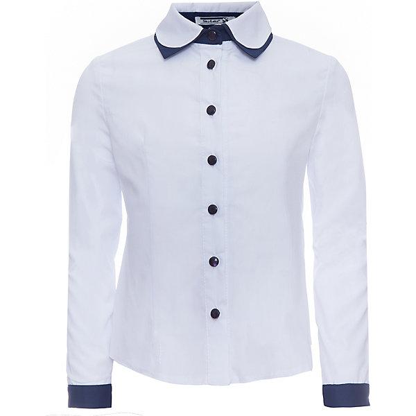 Блуза для девочки Лили SkylakeБлузки и рубашки<br>Блуза для девочки Лили от известного бренда Skylake<br>Комбинированная блузка для девочек младшего и среднего<br>школьного возраста.<br>Изготовлена из блузочной смесовой хлопковой ткани  белого<br>и синего цвета.<br>Полочки и спинка с талиевыми вытачками.<br>Застежка на узкую настрочную планку с пуговицами.<br>Воротник двойной на отрезной стойке.<br>Нижний воротник контрастного цвета.<br>Рукава втачные длинные, на манжетах из ткани - компаньона.<br>Состав:<br>65%полиэстер,35% хлопок<br><br>Ширина мм: 186<br>Глубина мм: 87<br>Высота мм: 198<br>Вес г: 197<br>Цвет: синий/белый<br>Возраст от месяцев: 108<br>Возраст до месяцев: 120<br>Пол: Женский<br>Возраст: Детский<br>Размер: 140,158,134,128,152,146<br>SKU: 4723311