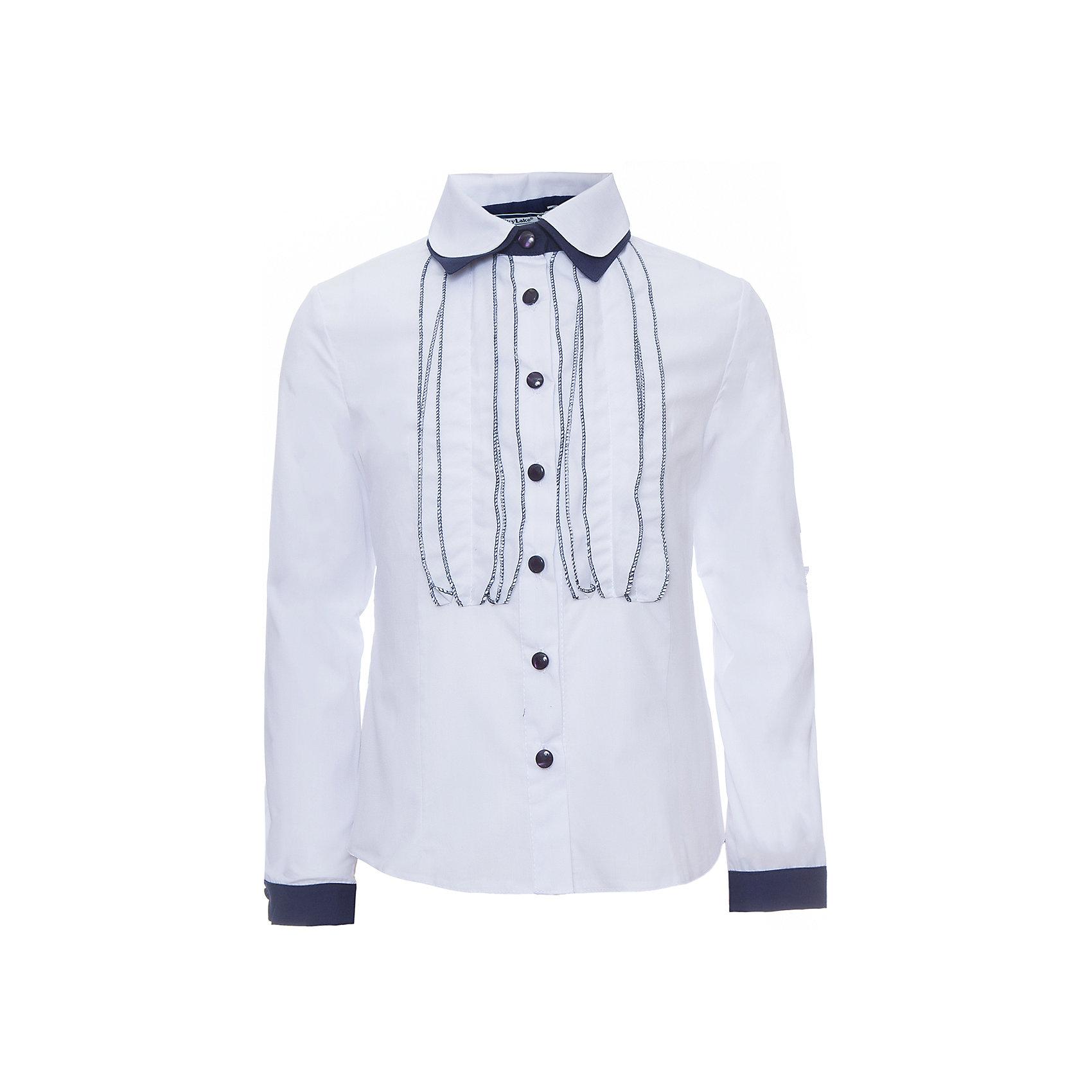Блуза для девочки Дана SkylakeБлузки и рубашки<br>Блуза для девочки Дана от известного бренда Skylake<br>Комбинированная блузка для девочек младшего и среднего<br>школьного возраста.<br>Изготовлена из блузочной смесовой хлопковой ткани  белого<br>и синего цвета.<br>Полочки и спинка с талиевыми вытачками.<br>Застежка на узкую настрочную планку с пуговицами.<br>Полочки  украшены вертикальными декоративными рюшами.<br>Воротник двойной на отрезной стойке.<br>Нижний воротник контрастного цвета.<br>Рукава втачные длинные, на манжетах из ткани - компаньона.<br><br>Состав:<br>65%полиэстер,35% хлопок<br><br>Ширина мм: 186<br>Глубина мм: 87<br>Высота мм: 198<br>Вес г: 197<br>Цвет: бело-синий<br>Возраст от месяцев: 84<br>Возраст до месяцев: 96<br>Пол: Женский<br>Возраст: Детский<br>Размер: 158,134,140,146,152,128<br>SKU: 4723325