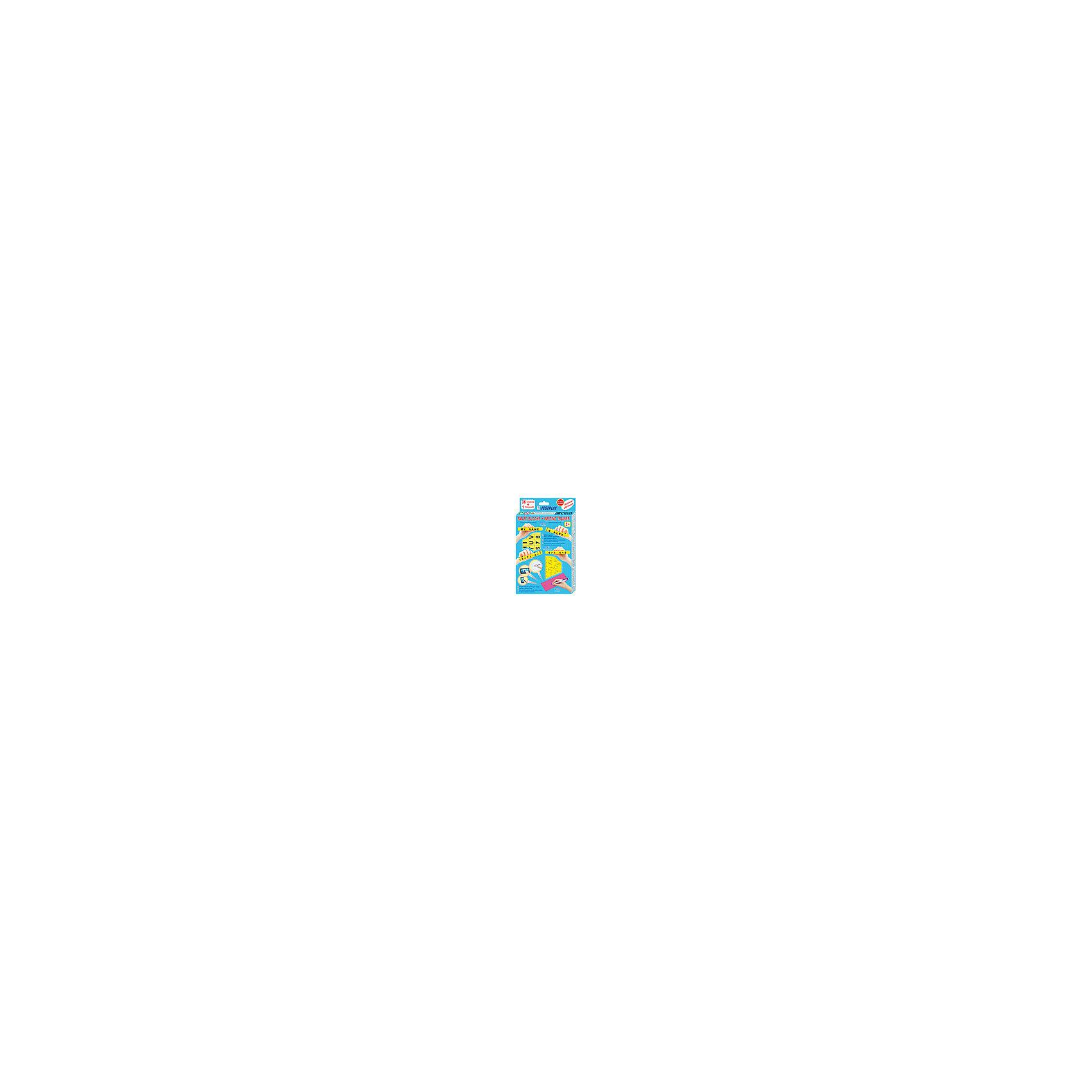 """Умные кубики+тренажер для письма,английский языкОбучающие карточки<br>В состав набора входит два учебных пособия: «Умные кубики» для обучения математике, английскому алфавиту и чтению, а также «Тренажер для письма» для тренировки написания букв английского алфавита. Пособие «Умные кубики» представляет собой набор из 36 кубиков, на гранях которых написаны буквы английского алфавита, знаки препинания, цифры и знаки математических действий. Благодаря специальной конструкции (выступ с одной стороны и отверстие с другой), кубики могут скрепляться между собой. Кубики можно скреплять только определенным способом, ребенок не сможет расположить их неправильно (зеркально или к верх ногами), что важно на этапе обучения, чтобы не сформировались неправильные представления о буквах и цифрах. Количество букв, цифр и знаков на гранях кубиков выбрано с учетом частоты их использования и позволяет составлять достаточно сложные слова, предложения и примеры. При составлении слов из Умных кубиков задействуются сразу несколько каналов восприятия информации: зрительный и кинестетический (сенсорный), что способствует лучшему запоминанию. При использовании кубиков для обучения математике можно не только составлять примеры, но и дать представление о длине отрезков, площади и объеме предметов. Тренажер для письма TESTPLAY представляет собой пластмассовую пластину, на обе стороны которой в виде сенсорных дорожек с рельефным дном нанесены буквы английского алфавита строчные и заглавные, печатные и письменные, а также элементы букв. Ребенок ставит ручку на дорожку и обводит букву прямо на пластине. Буквы воспринимаются ребенком в виде """"считываемых"""" с рельефной дорожки сенсорных и звуковых сигналов. Работа с тренажером для письма TESTPLAY ускоряет овладение письмом в 2,5 — 3 раза по сравнению с технологией механического переписывания букв из традиционных прописей в тетрадь.<br><br>Дополнительная информация:<br><br>- В наборе: 36 кубиков, пластина-тренажер для письма<br>- Размер кубика: 1,5х1,5х1,5"""