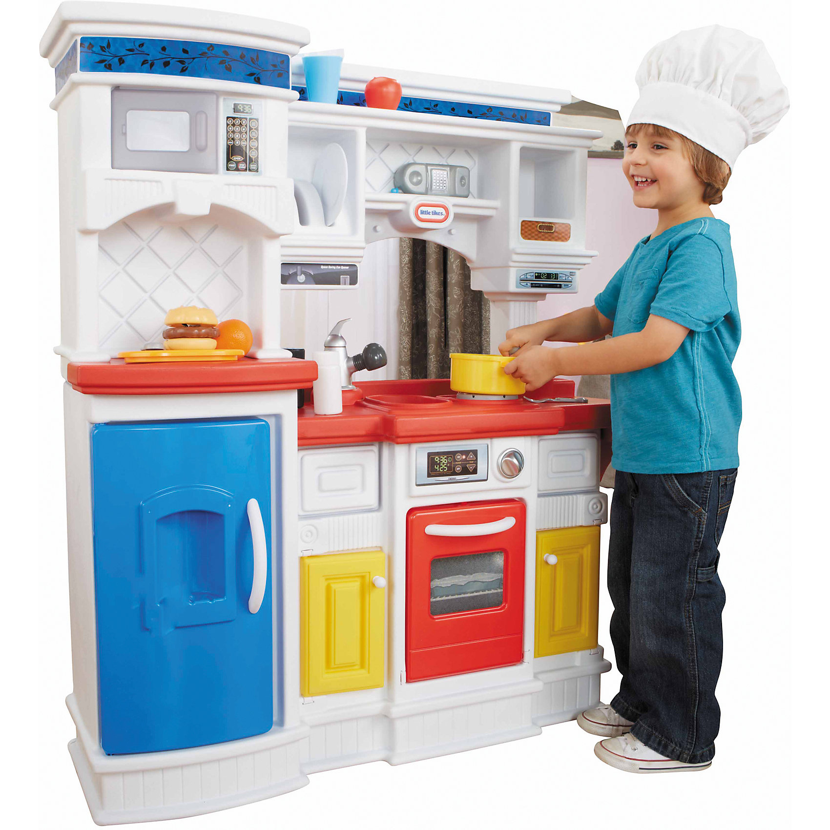 Кухня Гурман, Little TikesКухня Little Tikes Гурман предназначена для увлекательной сюжетно-ролевой игры, в ходе которой ребенок сможет почувствовать себя настоящим поваром. Кухня выполнена очень реалистично, предусмотрено множество различных функций и атрибутов: открываются дверки у холодильника, духового шкафа и микроволновой печи, поворачивается выключатель плиты, имеются звуковые эффекты. Кроме того, в комплект входят 18 различных аксессуаров (столовые приборы, посуда, коробочки и баночки для специй), которые сделают игру еще более увлекательной. Все элементы набора выполнены из высококачественного пластика и полностью безопасны для здоровья ребенка.<br>Компактная кухня легко собирается и разбирается, в собранном виде не займет много места - по окончании игры ее можно убрать в удобное для хранения место.<br><br>Дополнительная информация:<br><br>- Материал: пластик.<br>- Размер: 103 х 24 х 105 см.<br>- Комплектация: кухня, 18 аксессуаров. <br>- Звуковые эффекты.<br>- Элемент питания: 2 АА батарейки (не входят в комплект).<br><br>Кухню Гурман, Little Tikes (Литл Тайкс), можно купить в нашем магазине.<br><br>Ширина мм: 560<br>Глубина мм: 610<br>Высота мм: 900<br>Вес г: 1386<br>Возраст от месяцев: 36<br>Возраст до месяцев: 72<br>Пол: Унисекс<br>Возраст: Детский<br>SKU: 4724041