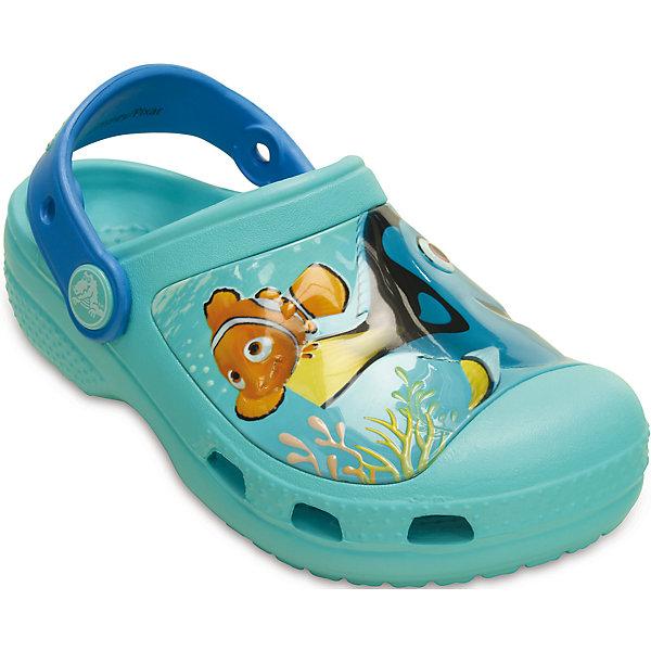 Сабо Kids' Creative Crocs Finding Dory Clog CROCSПляжная обувь<br>Характеристики товара:<br><br>• цвет: голубой<br>• материал: 100% полимер Croslite™<br>• литая модель<br>• вентиляционные отверстия<br>• бактериостатичный материал<br>• пяточный ремешок фиксирует стопу<br>• толстая устойчивая подошва<br>• с принтом<br>• анатомическая стелька с массажными точками стимулирует кровообращение<br>• страна бренда: США<br>• страна изготовитель: Китай<br><br>Для правильного развития ребенка крайне важно, чтобы обувь была удобной. Такие сабо обеспечивают детям необходимый комфорт, а анатомическая стелька с массажными линиями для стимуляции кровообращения позволяет ножкам дольше не уставать. Сабо легко надеваются и снимаются, отлично сидят на ноге. Материал, из которого они сделаны, не дает размножаться бактериям, поэтому такая обувь препятствует образованию неприятного запаха и появлению болезней стоп. <br>Обувь от американского бренда Crocs в данный момент завоевала широкую популярность во всем мире, и это не удивительно - ведь она невероятно удобна. Её носят врачи, спортсмены, звёзды шоу-бизнеса, люди, которым много времени приходится бывать на ногах - они понимают, как важна комфортная обувь. Продукция Crocs - это качественные товары, созданные с применением новейших технологий. Обувь отличается стильным дизайном и продуманной конструкцией. Изделие производится из качественных и проверенных материалов, которые безопасны для детей.<br><br>Сабо Kids' Creative Crocs Finding Dory Clog от торговой марки Crocs можно купить в нашем интернет-магазине.<br><br>Ширина мм: 225<br>Глубина мм: 139<br>Высота мм: 112<br>Вес г: 290<br>Цвет: голубой<br>Возраст от месяцев: 24<br>Возраст до месяцев: 24<br>Пол: Унисекс<br>Возраст: Детский<br>Размер: 25/26,27/28,31/32,23/24,21/22,29/30<br>SKU: 4726001