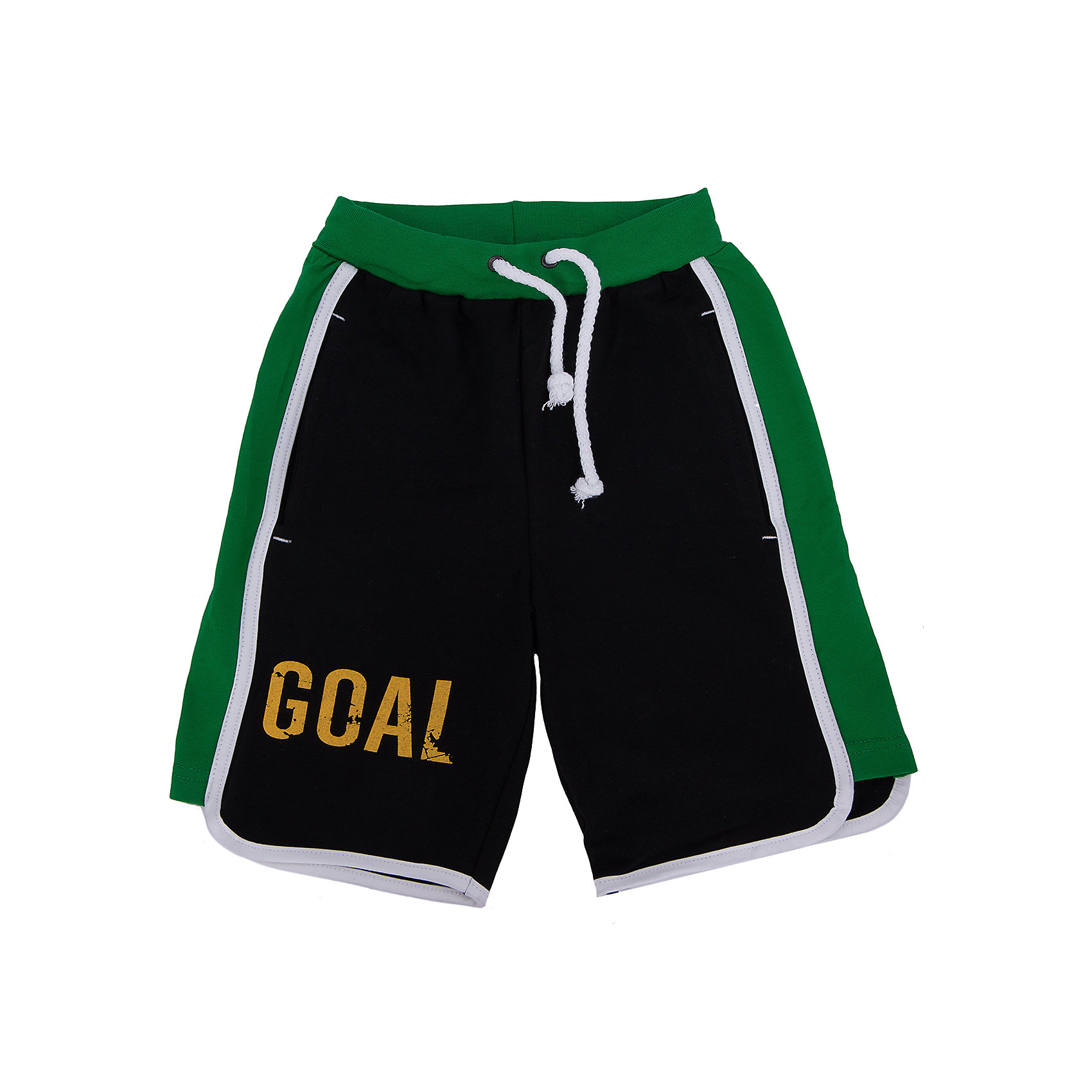 Шорты для мальчика АпрельШорты, бриджи, капри<br>Шорты Апрель<br>Шорты от компании Апрель выполнены в ярком дизайне футбольной тематики. Свободный классический крой очень удобен и для повседневной носки, и для активных игр. Надежную фиксацию обеспечивает шнурок-завязка на поясе, пропущенная через внутренний шов. Одну из штанин украшает надпись Гол, а на заднем кармане имеется номер 76. Шорты изготовлены из тонкого прочного хлопкового трикотажного полотна - кулир. Для увеличения эластичности кулирной глади в хлопок добавлена лайкра, которая оберегает изделие образования складок. Ткань отлично пропускает воздух, что идеально подходит для жаркого и знойного лета.<br><br>Дополнительная информация:<br><br>- Пол: мальчик<br>- Цвет: черный, зеленый<br>- Ткань: трикотажное полотно кулир<br>- Состав: 92% хлопок, 8% лайкра<br><br>Шорты Апрель можно купить в нашем интернет-магазине.<br><br>Ширина мм: 191<br>Глубина мм: 10<br>Высота мм: 175<br>Вес г: 273<br>Цвет: черный<br>Возраст от месяцев: 120<br>Возраст до месяцев: 132<br>Пол: Мужской<br>Возраст: Детский<br>Размер: 146,116,122,128,134,140<br>SKU: 4726321
