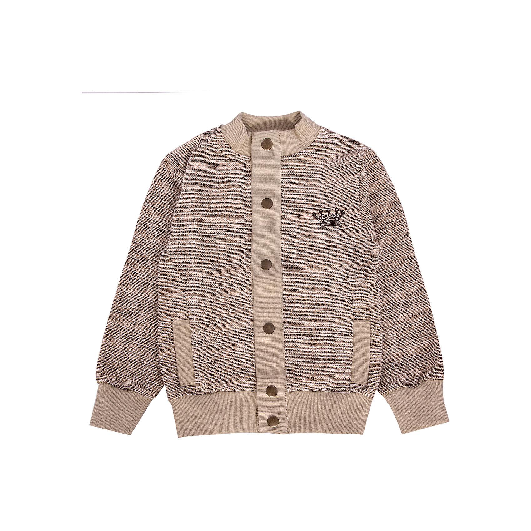 Толстовка для мальчика АпрельКуртка Апрель<br>Куртка из коллекции Король Лев от торговой марки Апрель - идеальный вариант одежды на каждый день в прохладное время года. Стильная куртка выполнена в бежевом цвете, на спине украшена принтом в виде льва. Куртка имеет два кармана, застегивается спереди на пуговицы. Изготовлена из натуральной хлопчатобумажной ткани – футер. Футер - это удивительно комфортная гладкая с внешней стороны, мягкая и нежная - с внутренней стороны ткань. Небольшое добавление лайкры оберегает изделие от образования складок.<br><br>Дополнительная информация:<br><br>- Пол: мальчик<br>- Цвет: бежевый<br>- Ткань: футер<br>- Состав: 95% хлопок 5% лайкра<br><br>Куртку Апрель можно купить в нашем интернет-магазине.<br><br>Ширина мм: 215<br>Глубина мм: 88<br>Высота мм: 191<br>Вес г: 336<br>Цвет: бежевый<br>Возраст от месяцев: 84<br>Возраст до месяцев: 96<br>Пол: Мужской<br>Возраст: Детский<br>Размер: 128,98,104,110,116,122<br>SKU: 4726368