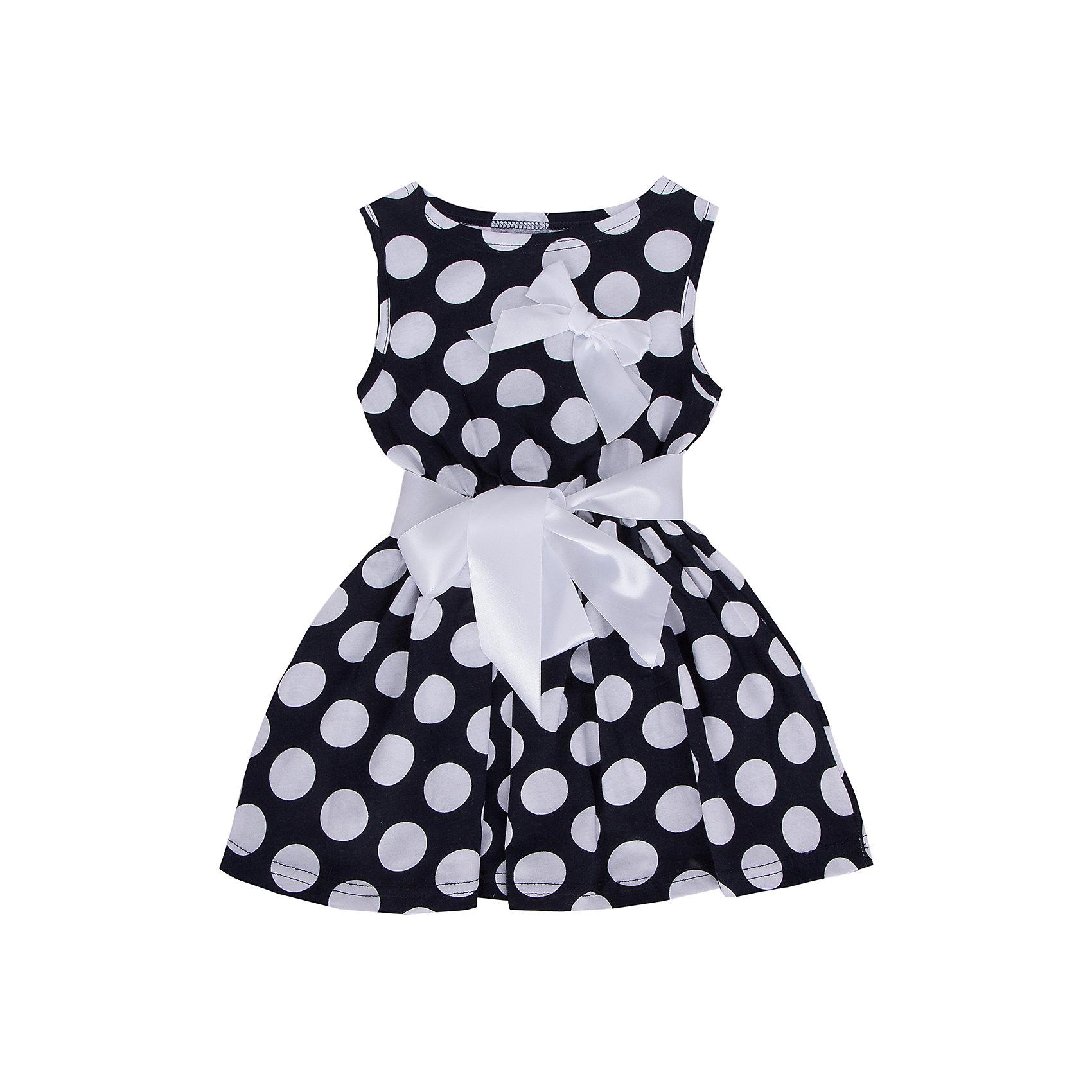 Платье для девочки АпрельПлатья и сарафаны<br>Платье Апрель<br>Платье в горошек с поясом декорированное бантом приведет в восторг юных модниц. Платье изготовлено из тонкого прочного хлопкового трикотажного полотна - кулир. Детская одежда из кулира отлично пропускает воздух, что идеально подходит для жаркого и знойного лета. Приятная на ощупь ткань исключит риск возникновения аллергии или раздражения при соприкосновении с нежной детской кожей. Простота в уходе делает изделие отличным вариантом для повседневного гардероба ребёнка. Дети очень активны и подвижны, а благодаря современным лекалам, используемым при производстве модели, ваше чадо будет свободно двигаться, и принимать активное участие в играх. Новейшее оборудование на производстве обеспечивает надёжность шва и длительный срок службы одежды.<br><br>Дополнительная информация:<br><br>- Сезон: лето<br>- Комплектация:  пояс, платье, бант<br>- Цвет: темно-синий, белый<br>- Без рукавов<br>- Без застежек<br>- Длина юбки: мини<br>- Без карманов<br>- По назначению: повседневный стиль<br>- Ткань: кулир<br>- Состав: 100 % хлопок<br><br>Платье Апрель можно купить в нашем интернет-магазине.<br><br>Ширина мм: 236<br>Глубина мм: 16<br>Высота мм: 184<br>Вес г: 177<br>Цвет: синий<br>Возраст от месяцев: 24<br>Возраст до месяцев: 36<br>Пол: Женский<br>Возраст: Детский<br>Размер: 98,104,110,116,122,128,140,134<br>SKU: 4726411