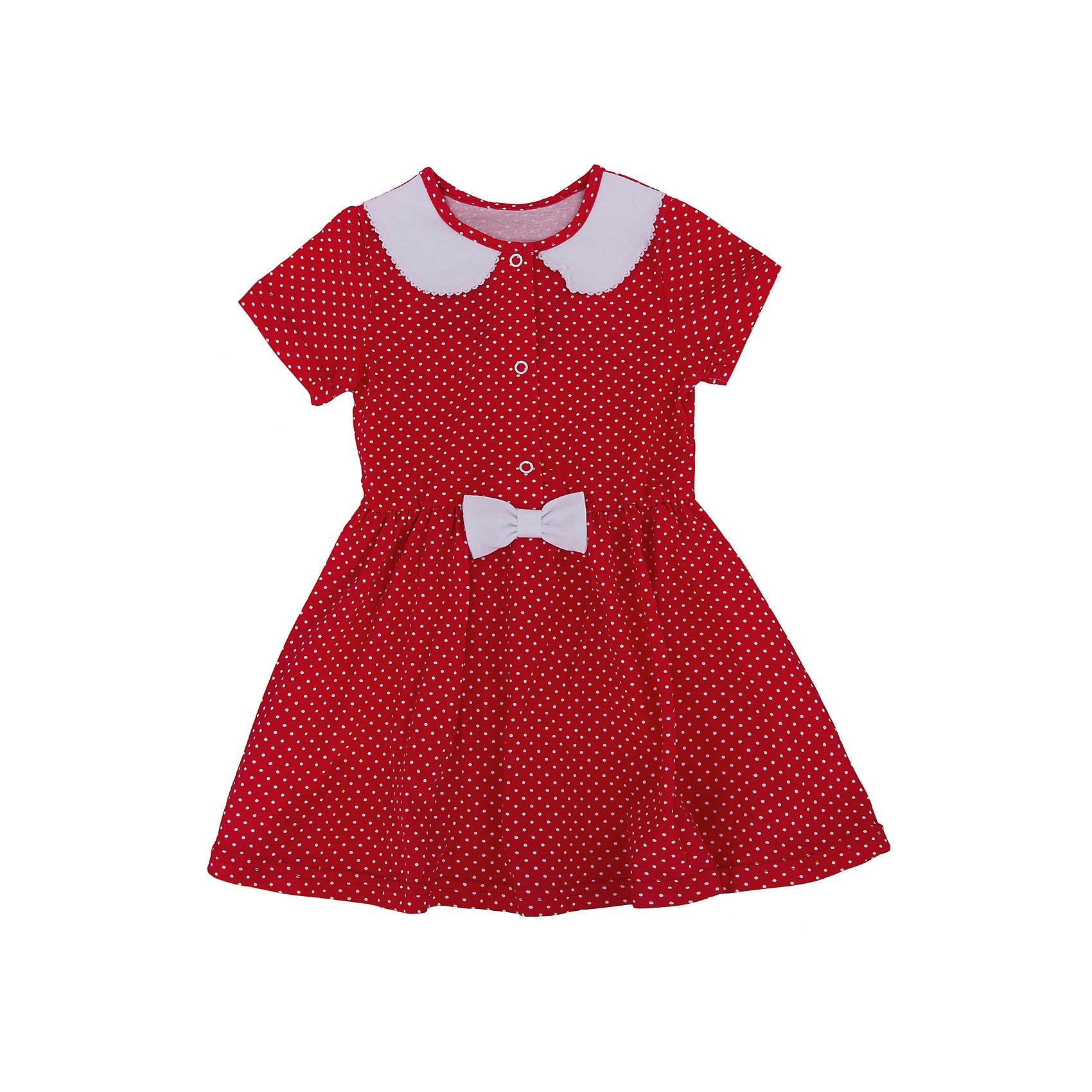 Платье для девочки АпрельПлатье Апрель<br>Милое платье в горошек приведет в восторг юных модниц. Изделие с короткими рукавами, застегивается на кнопки, декорировано контрастным отложным воротничком и бантиком. Платье изготовлено из тонкого прочного хлопкового трикотажного полотна - кулир. Детская одежда из кулира отлично пропускает воздух, что идеально подходит для жаркого и знойного лета. Приятная на ощупь ткань исключит риск возникновения аллергии или раздражения при соприкосновении с нежной детской кожей. Простота в уходе делает изделие отличным вариантом для повседневного гардероба ребёнка. Дети очень активны и подвижны, а благодаря современным лекалам, используемым при производстве модели, ваше чадо будет свободно двигаться, и принимать активное участие в играх. Новейшее оборудование на производстве обеспечивает надёжность швов и длительный срок службы изделия.<br><br>Дополнительная информация:<br><br>- Сезон: лето<br>- Цвет: красный, белый<br>- Длина рукава: короткие<br>- Тип застежки: кнопки<br>- Длина юбки: мини<br>- Без карманов<br>- По назначению: повседневный стиль<br>- Ткань: кулир<br>- Состав: 100 % хлопок<br><br>Платье Апрель можно купить в нашем интернет-магазине.<br><br>Ширина мм: 236<br>Глубина мм: 16<br>Высота мм: 184<br>Вес г: 177<br>Цвет: красный<br>Возраст от месяцев: 24<br>Возраст до месяцев: 36<br>Пол: Женский<br>Возраст: Детский<br>Размер: 98,92,122,116,110,104<br>SKU: 4726519