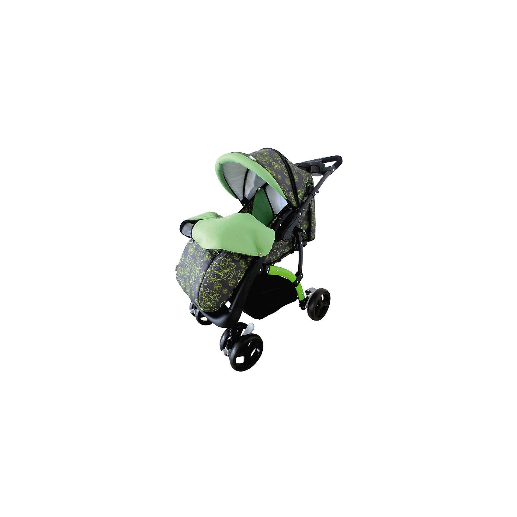 Прогулочная коляска Flora, Baby Hit, зеленыйЛегкая, маневренная и стильная коляска Flora придется по душе многим мамам. Обновленная модель Flora получила полноценный полог с большим отворотом на молнии, который не позволит малышу замерзнуть на прогулках в прохладную погоду. У коляски замечательная амортизация, регулируемая спинка с положением лежа и регулируемая подножка, есть возможность создать комфортное спальное место. Капюшон коляски может опускать вниз до столика-поручня, что позволит спрятать ребенка от непогоды и яркого солнца. Для родителей на перекидной ручке установлен столик с бардачком для мелочей и двумя подстаканниками. В комплекте также дождевик и москитная сетка.<br><br>Дополнительная информация:<br><br>Подходит для детей от 7 – 36 мес.<br>Ширина посадочного места – 35 см.<br>Съемный столик-поручень.<br>Покраска рамы и всех пластиковых деталей.<br>Амортизация на всех колесах.<br>5-ти точечный ремень безопасности.<br>Регулируемая подножка.<br>Перекидная ручка.<br>Наличие капюшона-батискафа.<br>Положение спинки – до 175 градусов.<br><br>Размеры коляски:<br>Размеры в сложенном виде, Д/Ш/В: 73/56/101 см.<br>Ширина колесной базы 56 см.<br>Глубина сидения – 20 см<br>Ширина сидения – 33 см<br>Подножка – 13 см<br>Спинка – 40 см<br>Высота – 100 см<br>Размер колес:<br>Переднее – 16 см<br>Заднее – 20 см<br><br>В комплекте:<br>Полог на ножки.<br>Дождевик.<br>Москитная сетка.<br>Корзина для продуктов.<br><br>Прогулочную коляску Flora, Baby Hit, зеленую можно купить в нашем магазине.<br><br>Ширина мм: 490<br>Глубина мм: 255<br>Высота мм: 800<br>Вес г: 12000<br>Возраст от месяцев: 6<br>Возраст до месяцев: 36<br>Пол: Унисекс<br>Возраст: Детский<br>SKU: 4726623