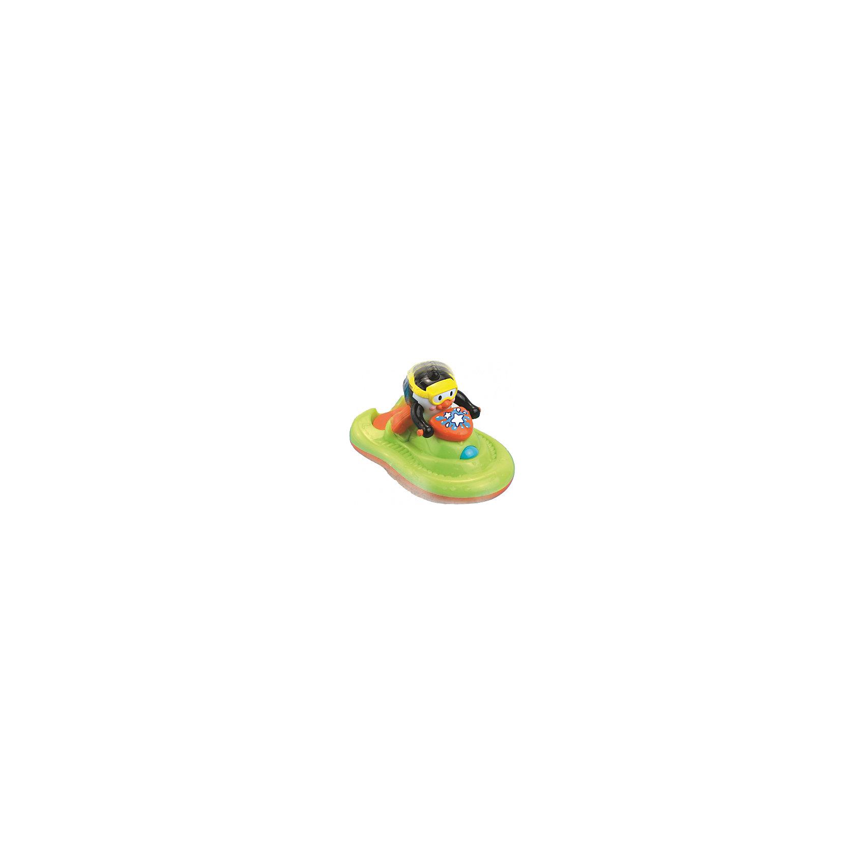 Пингвиненок на катере, HAP-P-KIDИгрушки для ванной<br>Пингвиненок на катере, Happy Kid (Хэппи Кид) – эта забавная игрушка развеселит вашего малыша во время купания.<br>Игрушка для ванной Пингвиненок на катере от Happy Kid (Хэппи Кид) выполнена в виде забавного пингвиненка в желтой маске, который сидит на водном катере зелено-оранжевого цвета. В специальный отсек катера нужно налить мыльную жидкость, нажать кнопку на передней части катера и опустить игрушку на воду. Катер поплывет, слегка подпрыгивая, и качаясь, словно на волнах, и будет пускать мыльные пузыри. Эта игрушка привлечет внимание вашего малыша и превратит купание в веселую игру! Игрушка не имеет острых углов, её форма обтекаемая, а значит, ребенок не сможет пораниться. Развивает воображение, цветовосприятие, мелкую моторику, а также помогает ребенку справиться с боязнью воды. Продукция изготовлена из прочного, качественного, безопасного пластика, сертифицирована, экологически безопасна, использованные красители не токсичны и гипоаллергенны.<br><br>Дополнительная информация:<br><br>- Размер: 19 х 12 х 11,5 см.<br>- Материал: пластик<br>- Батарейки: 3 типа ААА (в комплекте демонстрационные)<br>- Размер упаковки: 18 x 16 x 21 см.<br>- Вес: 533 гр.<br><br>Пингвиненка на катере, Happy Kid (Хэппи Кид) можно купить в нашем интернет-магазине.<br><br>Ширина мм: 180<br>Глубина мм: 160<br>Высота мм: 210<br>Вес г: 533<br>Возраст от месяцев: 12<br>Возраст до месяцев: 36<br>Пол: Унисекс<br>Возраст: Детский<br>SKU: 4726748
