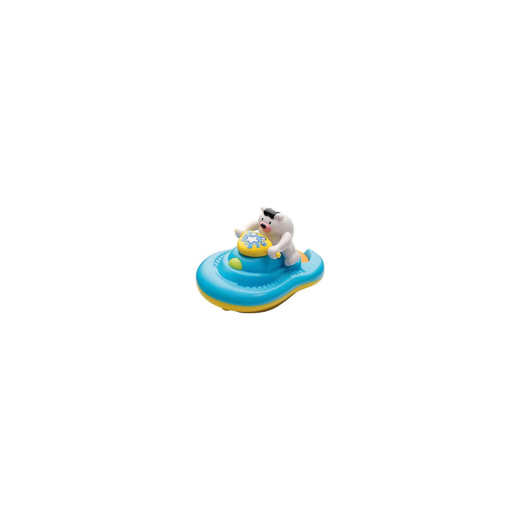 Медвежонок на катере, HAP-P-KIDИгрушки ПВХ<br>Медвежонок на катере, Happy Kid (Хэппи Кид) – эта забавная игрушка развеселит вашего малыша во время купания.<br>Игрушка для ванной Медвежонок на катере от Happy Kid (Хэппи Кид) выполнена в виде забавного белого медвежонка, который сидит на водном катере синего цвета. В специальный отсек катера нужно налить мыльную жидкость, нажать кнопку на передней части катера и опустить игрушку на воду. Катер поплывет, слегка подпрыгивая, и качаясь, словно на волнах, и будет пускать мыльные пузыри. Эта игрушка привлечет внимание вашего малыша и превратит купание в веселую игру! Игрушка не имеет острых углов, её форма обтекаемая, а значит, ребенок не сможет пораниться. Развивает воображение, цветовосприятие, мелкую моторику, а также помогает ребенку справиться с боязнью воды. Продукция изготовлена из прочного, качественного, безопасного пластика, сертифицирована, экологически безопасна, использованные красители не токсичны и гипоаллергенны.<br><br>Дополнительная информация:<br><br>- Материал: пластик<br>- Батарейки: 3 типа ААА (в комплекте демонстрационные)<br>- Размер упаковки: 18 x 16 x 21 см.<br>- Вес: 533 гр.<br><br>Медвежонка на катере, Happy Kid (Хэппи Кид) можно купить в нашем интернет-магазине.<br><br>Ширина мм: 180<br>Глубина мм: 160<br>Высота мм: 210<br>Вес г: 533<br>Возраст от месяцев: 12<br>Возраст до месяцев: 36<br>Пол: Унисекс<br>Возраст: Детский<br>SKU: 4726749