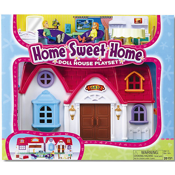 Набор Дом с предметами, KeenwayДомики для кукол<br>Набор Дом с предметами, Keenway (Кинвей) – яркий привлекательный коттедж с входными и гаражными дверями, и множеством аксессуаров для игры.<br>Игровой набор «Дом с предметами» от Keenway (Кинвей) – это милый красочный домик для дружной семьи! В нем живет супружеская пара – две подвижные фигурки, которые находятся в комплекте. Дом раскрывается подобно книге, что позволяет в разложенном виде расположить фигурки и расставить мебель. На одной раскладной части домика есть крыльцо и вход в гостиную, на другой - дверь гаража. Входная дверь и гаражные ворота открываются. Обустроить дом можно очень уютно, ведь в набор входит множество деталей интерьера. Для спальни расположенной на втором этаже - кровать и туалетный столик с зеркалом. Для кухни - обеденный стол со стульями и кухонный гарнитур с плитой, раковиной, микроволновой печью, тостером. Для гостиной - диван, кресло и домашний кинотеатр. Ваша малышка будет очень увлечена различными возможными комбинациями. Ведь мебель можно переставлять по своему вкусу и усмотрению. Домик закрывается на защелку и через окошко можно наблюдать, как поживают маленькие человечки. Сюжетно-ролевая игра помогает развить речь, моторику и координацию движений, логику, внимание и воображение, а так же способствует социальной адаптации ребенка. Домик сделан добротно, из прочного материла, что является гарантией долгого срока службы игрушки. Продукция сертифицирована, экологически безопасна для ребенка, использованные красители не токсичны и гипоаллергенны.<br><br>Дополнительная информация:<br><br>- В наборе: дом, две фигурки мужчины и женщины с подвижными частями тела, обеденный стол с 2 стульями, тумба с домашним кинотеатром, диван, кресло, кровать, туалетный столик с зеркалом, кухонный гарнитур<br>- Размер дома: 29 х 19 х 12 см.<br>- Высота кукол: 7 см.<br>- Материал: пластик<br>- Размер упаковки: 38 х 34 х 17 см.<br>- Вес: 1825 гр.<br><br>Набор Дом с предметами, Keenway (Кинвей) можно купить в