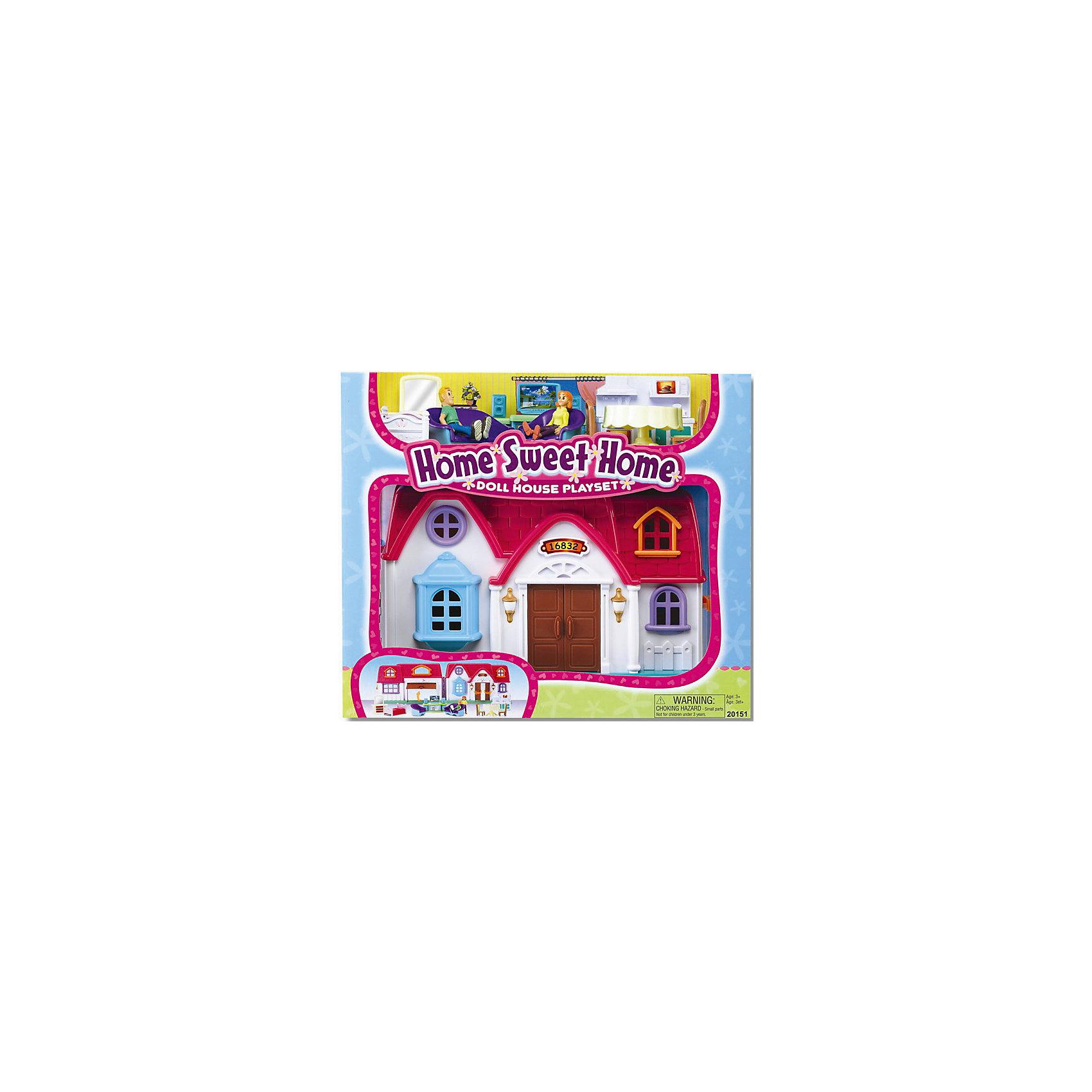 Набор Дом с предметами, KeenwayНабор Дом с предметами, Keenway (Кинвей) – яркий привлекательный коттедж с входными и гаражными дверями, и множеством аксессуаров для игры.<br>Игровой набор «Дом с предметами» от Keenway (Кинвей) – это милый красочный домик для дружной семьи! В нем живет супружеская пара – две подвижные фигурки, которые находятся в комплекте. Дом раскрывается подобно книге, что позволяет в разложенном виде расположить фигурки и расставить мебель. На одной раскладной части домика есть крыльцо и вход в гостиную, на другой - дверь гаража. Входная дверь и гаражные ворота открываются. Обустроить дом можно очень уютно, ведь в набор входит множество деталей интерьера. Для спальни расположенной на втором этаже - кровать и туалетный столик с зеркалом. Для кухни - обеденный стол со стульями и кухонный гарнитур с плитой, раковиной, микроволновой печью, тостером. Для гостиной - диван, кресло и домашний кинотеатр. Ваша малышка будет очень увлечена различными возможными комбинациями. Ведь мебель можно переставлять по своему вкусу и усмотрению. Домик закрывается на защелку и через окошко можно наблюдать, как поживают маленькие человечки. Сюжетно-ролевая игра помогает развить речь, моторику и координацию движений, логику, внимание и воображение, а так же способствует социальной адаптации ребенка. Домик сделан добротно, из прочного материла, что является гарантией долгого срока службы игрушки. Продукция сертифицирована, экологически безопасна для ребенка, использованные красители не токсичны и гипоаллергенны.<br><br>Дополнительная информация:<br><br>- В наборе: дом, две фигурки мужчины и женщины с подвижными частями тела, обеденный стол с 2 стульями, тумба с домашним кинотеатром, диван, кресло, кровать, туалетный столик с зеркалом, кухонный гарнитур<br>- Размер дома: 29 х 19 х 12 см.<br>- Высота кукол: 7 см.<br>- Материал: пластик<br>- Размер упаковки: 38 х 34 х 17 см.<br>- Вес: 1825 гр.<br><br>Набор Дом с предметами, Keenway (Кинвей) можно купить в нашем интернет-мага