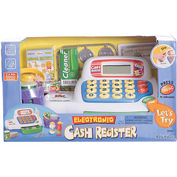 Набор Кассовый аппарат с предметами, KeenwayДетский супермаркет<br>Набор Кассовый аппарат с предметами, Keenway (Кинвей) - это реалистичный набор для игры «в магазин».<br>Набор Кассовый аппарат с предметами Keenway (Кинвей) имеет множество увлекательных функций и предметов. Он обязательно привлечёт внимание Вашего малыша и поможет познакомиться с основами сюжетно - ролевой игры Магазин. Сидя за кассовым аппаратом, ребёнок почувствует себя юным продавцом-кассиром, а множество звуковых и световых эффектов сделают игру познавательной и увлекательной. Кассовый аппарат оснащён LCD-экраном, на котором высвечивается сумма покупки. Касса оборудован настоящим калькулятором, который поможет сосчитать общую сумму покупки и увидеть цену на каждый товар по отдельности. При наборе цифры выводятся на дисплей. Разъём для кредитной карточки поможет принимать оплату за товар у покупателя не только наличными деньгами, но и кредитной карточкой, а звуковой сигнал скажет малышу, что оплата произведена. При нажатии большой кнопки, расположенной на корпусе кассового аппарата, раздаётся звуковой сигнал и выдвигается лоток с деньгами. Касса оснащена сканером с левой стороны. Ребёнок проводит товаром у сканера, издаётся звук и загорается инфракрасный индикатор. Играя, ребёнок получит общие представления о предметах окружающей среды (продукты, деньги, калькулятор, сканер), обогатит словарный, научится считать, разовьет воображение и мелкую моторику. Продукция сертифицирована, экологически безопасна, использованные красители не токсичны и гипоаллергенны.<br><br>Дополнительная информация:<br><br>- В наборе: кассовый аппарат, монеты 6 шт, кредитная карта, корзина для покупок, по 2 штуки бутылочек, баночек и коробочек<br>- Материал: высококачественный пластик<br>- Размер кассового аппарата: 23х12х16 см.<br>- Батарейки: 2 типа АА (входят в комплект)<br>- Размер упаковки: 30,5х17,7х17 см.<br>- Вес: 900 гр.<br><br>Набор Кассовый аппарат с предметами, Keenway (Кинвей) можно купить в нашем интернет-маг