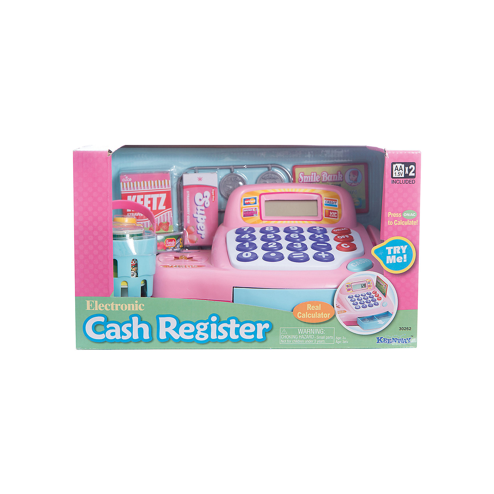 Набор Кассовый аппарат с предметами, KeenwayДетский супермаркет<br>Набор Кассовый аппарат с предметами, Keenway (Кинвей) – этот набор идеален для сюжетных игр «в магазин».<br>Набор «Кассовый аппарат с предметами» от Keenway (Кинвей) познакомит ребенка с понятиями магазин и товарно-денежные отношения. Кассовый аппарат сделан по типу калькулятора. Ребенок нажимает на кнопочки и раздается характерный для настоящей кассы звук. А на монохромном дисплее отображается набранное число. После того как общая сумма подсчитана, открывается ящичек с деньгами. В аппарате имеется разъем для оплаты банковской картой и встроенный сканер, который при считывании штрих-кода издает характерный звук, и стоимость товара отображается на экране. Играя с кассовым аппаратом и сопутствующими предметами, ребёнок познает разнообразие торговых операций, учится считать, закрепляет свои знания в арифметике, приобретает навыки работы с калькулятором, развивает воображение. Продукция сертифицирована, экологически безопасна, использованные красители не токсичны и гипоаллергенны.<br><br>Дополнительная информация:<br><br>- В наборе: кассовый аппарат, корзина для продуктов, монетки 6 шт, кредитная карта, жвачка, леденцы, молоко, кетчуп, сардины в консервной банке, кофейный напиток<br>- Материал: высококачественный пластик<br>- Размер кассового аппарата: 22х12х17 см.<br>- Батарейки: 2 типа АА (входят в комплект)<br>- Размер упаковки: 31х18х18 см.<br>- Вес: 996 гр.<br><br>Набор Кассовый аппарат с предметами, Keenway (Кинвей) можно купить в нашем интернет-магазине.<br><br>Ширина мм: 310<br>Глубина мм: 180<br>Высота мм: 180<br>Вес г: 996<br>Возраст от месяцев: 36<br>Возраст до месяцев: 84<br>Пол: Женский<br>Возраст: Детский<br>SKU: 4726755