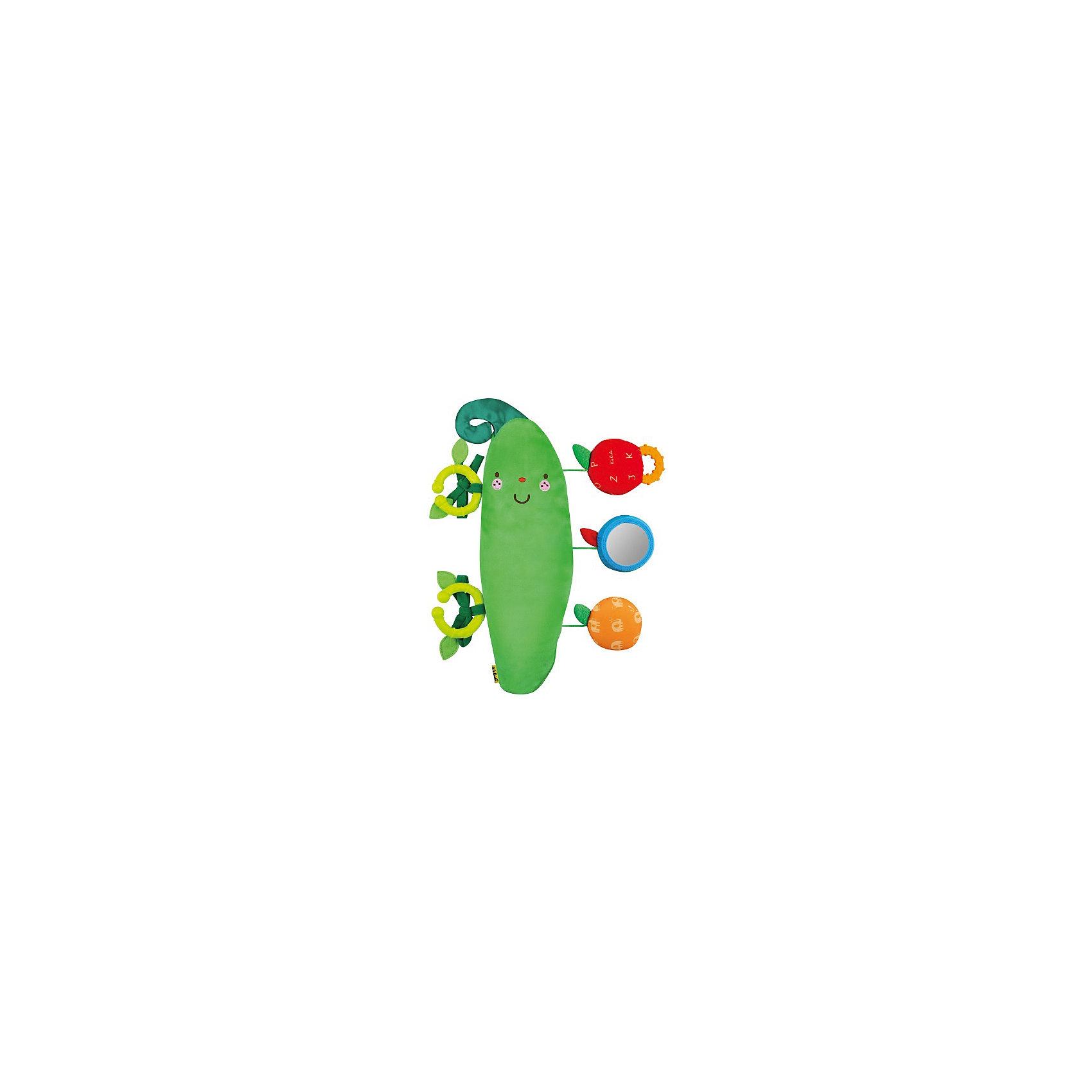 Заботливый Горошек, Ks KidsЗаботливый Горошек, Ks Kids (Кис Кидс) – это яркая мягкая мультифункциональная игрушка-подвеска, которая не даст заскучать вашему малышу.<br>Игрушка-подвеска Заботливый горошек от бренда Ks Kids (Кис Кидс) предназначена для игрового развития ребенка. Сочные цвета игрушки привлекут внимание малыша, мотивируя его изучать функции необычного для него предмета. Яркий зеленый горошек можно подвесить на коляску или автомобильное кресло, либо прикрепить к кроватке с помощью удобных колец с декоративными листочками. Мягкий стручок оснащен тремя подвесками из разнофактурного материала — мягким оранжевым апельсином-пищалкой, безопасным зеркальцем-сливой и мягким яблочком с пластиковым прорезывателем. Все подвески могут быть убраны вовнутрь горошка, что еще больше вовлечёт ребенка в процесс игры, он сможет доставать их и прятать обратно. Элементы имеют круглую удобную форму и надежно закреплены на основной игрушке. Игрушка-подвеска «Заботливый Горошек» способствует развитию когнитивных навыков, мелкой моторики, координации движений, цветовосприятия и слуха. Продукция сертифицирована, экологически безопасна для ребенка, использованные красители не токсичны и гипоаллергенны.<br><br>Дополнительная информация:<br><br>- Размер игрушки: 32 x 11,5 x 3 см.<br>- Цвет: зеленый, желтый, красный, голубой<br>- Материал: текстиль, пластик<br>- Упаковка: прозрачная сумка с ручкой<br>- Размер упаковки: 25 x 28 x 4 см.<br>- Вес: 342 гр.<br><br>Игрушку-подвеску Заботливый Горошек, Ks Kids (Кис Кидс) можно купить в нашем интернет-магазине.<br><br>Ширина мм: 250<br>Глубина мм: 280<br>Высота мм: 40<br>Вес г: 342<br>Возраст от месяцев: 0<br>Возраст до месяцев: 12<br>Пол: Унисекс<br>Возраст: Детский<br>SKU: 4726756
