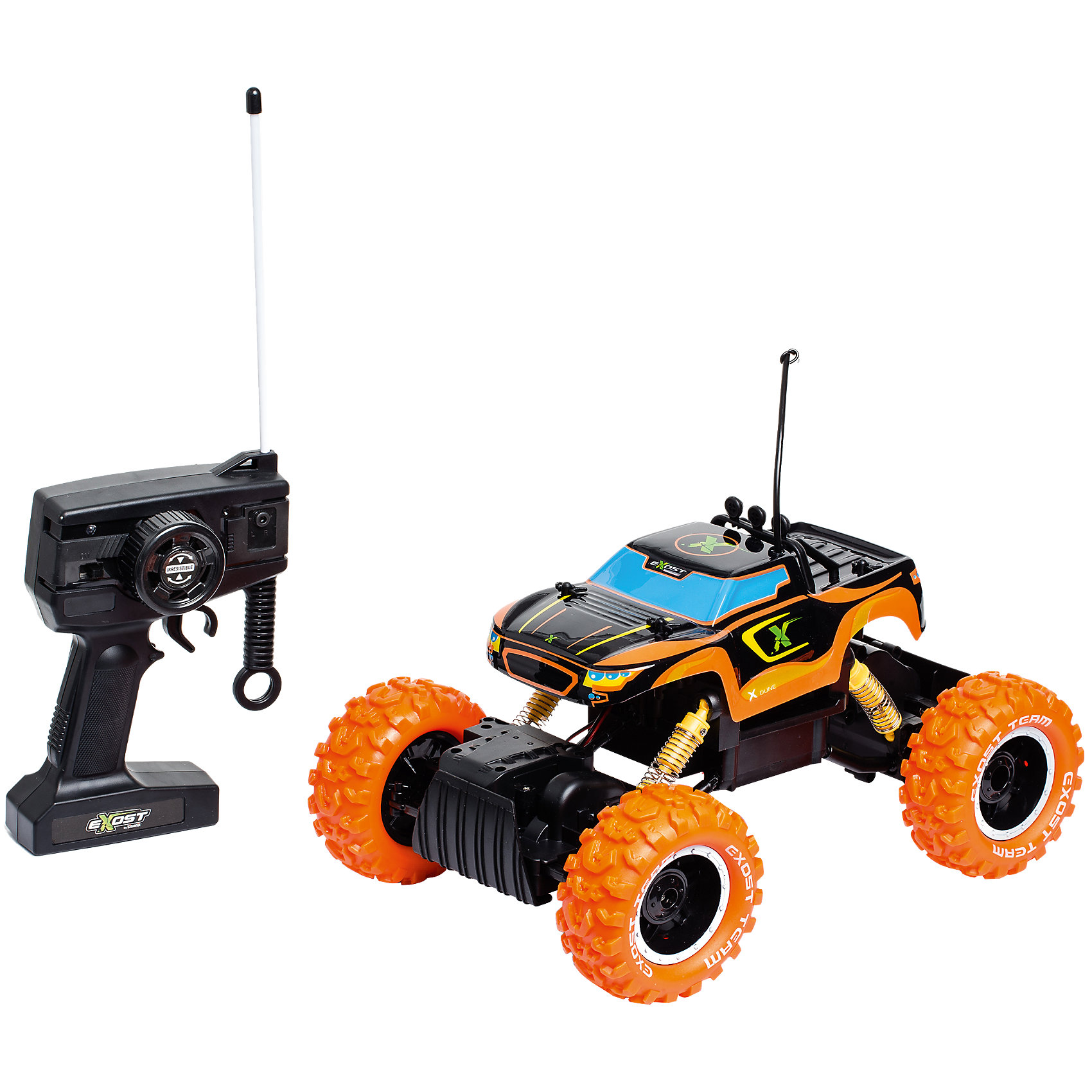 Машина на р/у Икс Дюн, SilverlitРадиоуправляемый транспорт<br>Машина на р/у Икс Дюн, Silverlit.<br><br>Характеристики:<br><br>- Комплектация: машина, пульт управления<br>- Масштаб: 1:12<br>- Батарейки: AA / LR6 1.5V (не входят в комплект)<br>- Время игры: 25 мин.<br>- Время зарядки: 2 ч.<br>- Максимальная скорость: 10 км/ч.<br>- Дальность действия: 20 м.<br>- Материал: пластик<br>- Упаковка: картонная коробка блистерного типа<br>- Размер упаковки: 41 х 24 х 22 см.<br><br>Радиоуправляемая машина Икс Дюн от компании Silverlit имеет съемный корпус черно-оранжевого цвета. Корпус изготовлен из высокопрочного пластика и выдержит все удары и столкновения, пока ваш ребенок будет учиться обращаться с радиоуправляемой машиной. Внедорожные шины с чётким протектором не позволяют колёсам проскальзывать на гладких поверхностях (стол, линолеум, ламинат, плитка). Полный привод, усиленная подвеска и две независимые оси делают машинку на радиоуправлении супер проходимой. Высокоскоростной мотор позволяет разогнать игрушечную машинку до 10 км/ч. Продукция сертифицирована, экологически безопасна для ребенка, использованные красители не токсичны и гипоаллергенны.<br><br>Машину на р/у Икс Дюн, Silverlit можно купить в нашем интернет-магазине.<br><br>Ширина мм: 414<br>Глубина мм: 256<br>Высота мм: 241<br>Вес г: 1691<br>Возраст от месяцев: 60<br>Возраст до месяцев: 108<br>Пол: Мужской<br>Возраст: Детский<br>SKU: 4727718