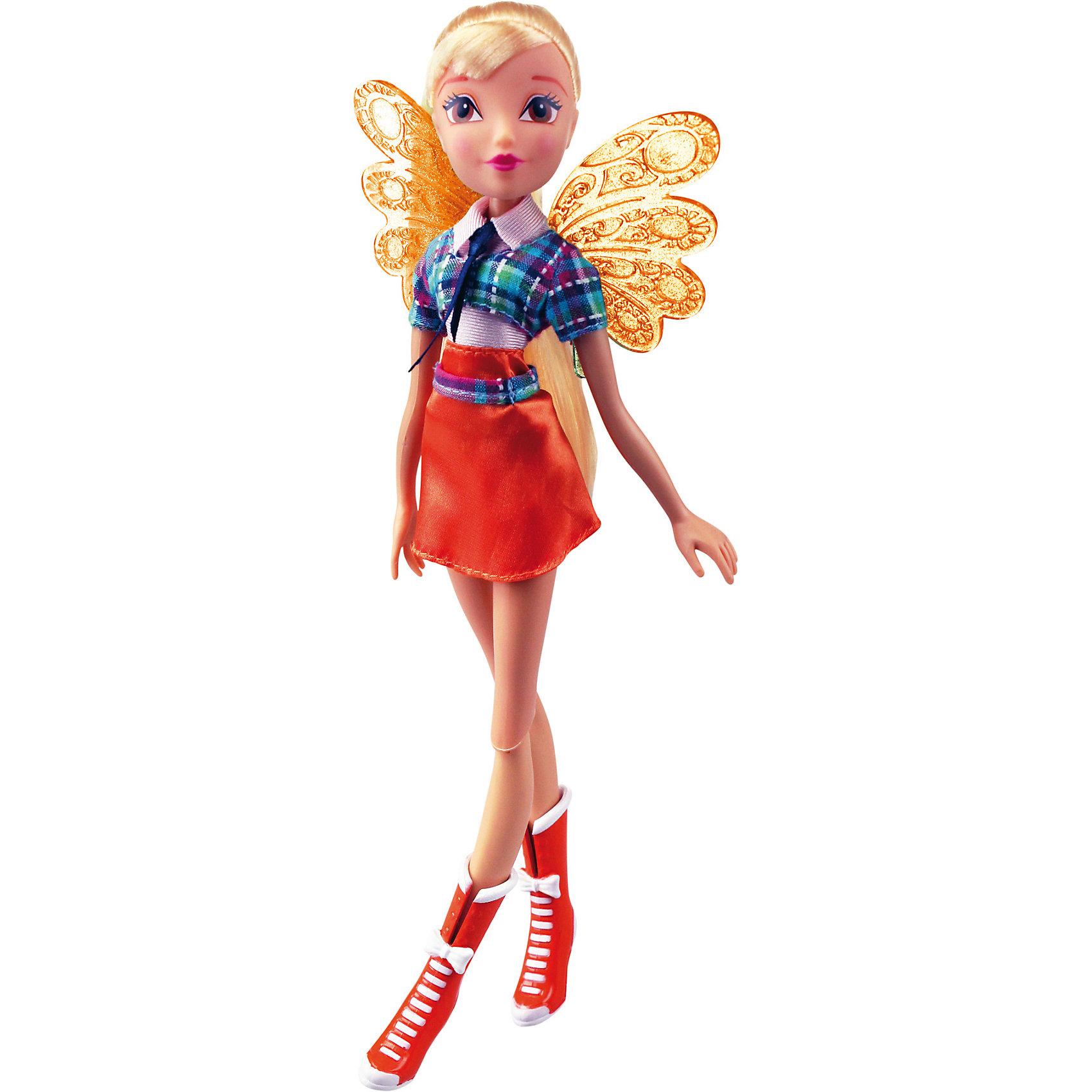 Кукла Winx Club Алфея СтеллаКукла Winx Club Алфея Стелла – красавица в стильной школьной форме идеальный подарок для преданных поклонниц фей.<br>Очередной учебный год в магической школе «Алфея» начался! Вся компания девочек-фей из «Винкс Клуб» любит уникальные наряды и знает толк в моде. Коллекция кукол-волшебниц  из 7 сезона мультсериала «Винкс Клуб» уже в продаже! Эксклюзивная школьная форма, роскошные волосы, съемные подвижные крылышки и шарнирный механизм кукол обрадуют всех поклонниц «Винкс Клуб». С каждой куклой серии «Алфея» в подарок вы получаете оригинальный браслет со съемными декоративными элементами. В коллекции «Алфея» у куклы Стелла модный клетчатый жакет, розовая блузка, темно-синий галстук, оранжевая мини-юбка и стильные ботильоны. Выразительные черты лица красавицы подчеркнуты ярким макияжем, а ее шикарные светлые волосы, завязанные в хвостик, спадают ниже плеч. Чудесные прозрачные ажурные крылышки феи порхают как настоящие и ярко мерцают на свету! Юная волшебница полностью готова к изучению заклинаний и получению силы Баттерфликс. Одежда и аксессуары куклы Winx Club «Алфея» Стелла полностью повторяют стиль одноименной героини сериала Winx Club (7 сезон). Продукция сертифицирована, экологически безопасна для детей, использованные красители не токсичны и гипоаллергенны.<br><br>Дополнительная информация:<br><br>- В комплекте: кукла, съемные крылья, брендированный браслет для девочки со съемными элементами (бабочка и цветочек)<br>- Высота куклы: 27 см.<br>- Материал: пластик, текстиль<br>- Руки и ноги куклы закреплены на шарнирных соединениях, поэтому их можно сгибать и двигать, придавая игрушке различные эффектные позы<br><br>Куклу Winx Club Алфея Стелла можно купить в нашем интернет-магазине.<br><br>Ширина мм: 200<br>Глубина мм: 60<br>Высота мм: 340<br>Вес г: 343<br>Возраст от месяцев: 36<br>Возраст до месяцев: 84<br>Пол: Женский<br>Возраст: Детский<br>SKU: 4728350