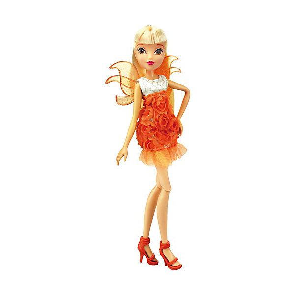 Кукла Winx Club Нежная роза СтеллаWinx Club<br>Кукла Winx Club Нежная роза Стелла – красавица в наряде, дополненным ярким декором в виде бутонов роз, идеальный подарок для девочки.<br>Новые образы и новые превращения волшебниц Винкс – «Нежная роза»! При первом взгляде на куклу Стелла может показаться, что она усыпана лепестками роз, ведь ее модное платье с серебристым лифом покрыто оранжевыми бутонами. Стелла похожа на благоухающий цветок. Выразительные черты лица красавицы подчеркнуты ярким макияжем, а ее роскошные светлые локоны спадают мягкими волнами ниже плеч. Изящные съемные крылышки дополняют образ феи и ярко мерцают на свету. Одежда и аксессуары куклы Winx Club «Нежная роза» Стелла полностью повторяют стиль одноименной героини сериала Winx Club (6 сезон). Руки и ноги куклы закреплены на шарнирных соединениях, поэтому их можно сгибать и двигать, придавая игрушке различные эффектные позы. Дополнительно в комплекте предусмотрен функциональный проектор с кадрами из 6 сезона мультсериала «Винкс Клуб». Продукция сертифицирована, экологически безопасна для детей, использованные красители не токсичны и гипоаллергенны.<br><br>Дополнительная информация:<br><br>- В комплекте: кукла, съемные крылья, пластиковый проектор с кадрами из 6 сезона<br>- Материал: пластик, текстиль<br>- Высота куклы: 27 см.<br>- Батарейки: 3 типа L736 (входят в комплект)<br><br>Куклу Winx Club Нежная роза Стелла можно купить в нашем интернет-магазине.<br>Ширина мм: 200; Глубина мм: 60; Высота мм: 340; Вес г: 337; Возраст от месяцев: 36; Возраст до месяцев: 84; Пол: Женский; Возраст: Детский; SKU: 4728354;