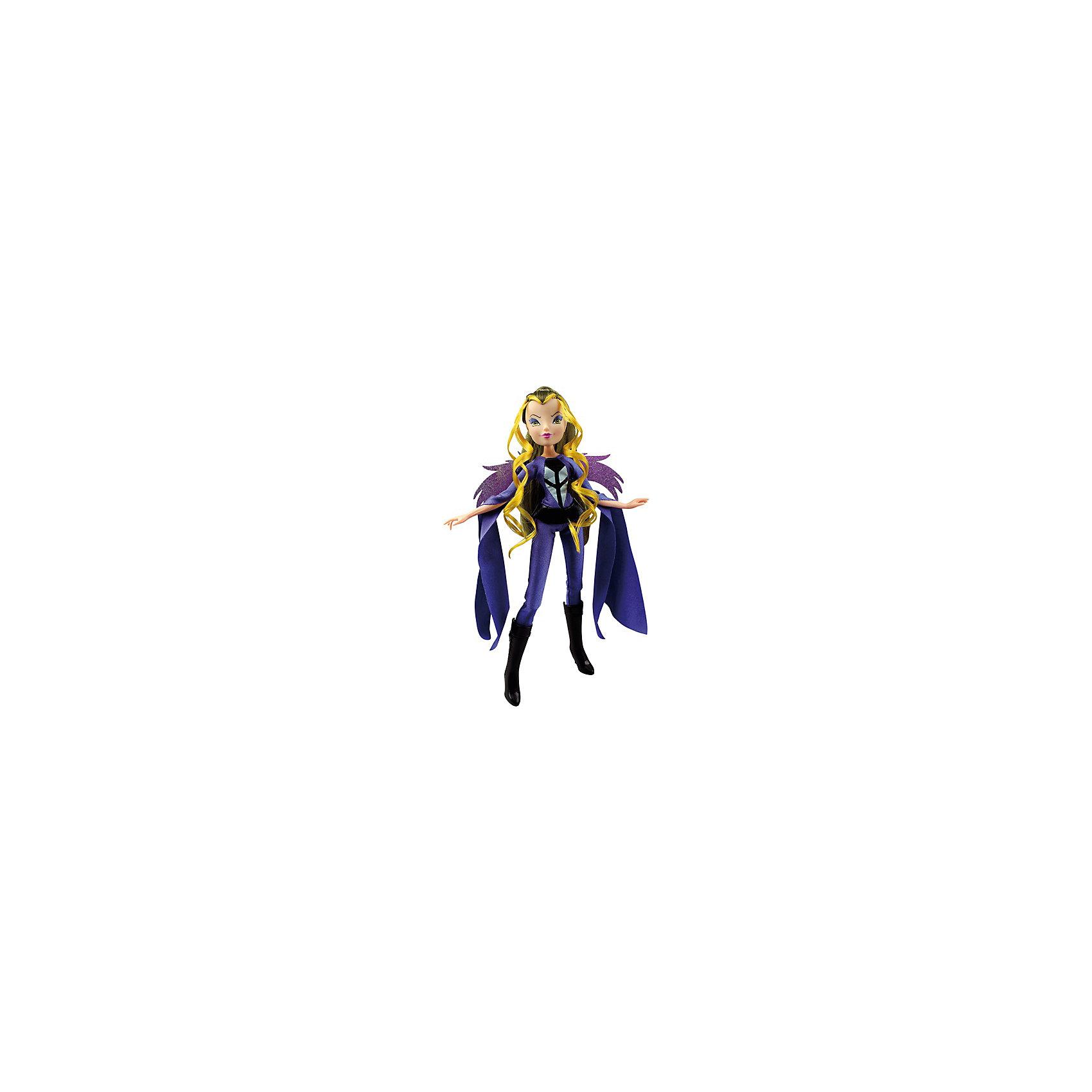 Кукла Winx Club Дарси-ТриксКукла Winx Club Дарси-Трикс – несомненно, порадует поклонниц мультсериала «Winx Club»!<br>Кукла Дарси Трикс Club Winx выполнена в стиле одной из главных героинь любимого мультсериала «Winx Club». Магическая сила и энергетика ведьмы Дарси полностью воплощена в кукольном образе. Кукла одета в яркий обтягивающий темно-синий комбинезон с длинными свисающими рукавами, а сзади у нее есть подвижные съемные крылышки фиолетового цвета. На ножках - стильные черные сапожки на небольшом каблучке. Длинные волосы Дарси дополнены прядями ярко-жёлтого оттенка. Волосы можно укладывать в красивые прически благодаря расчёске из набора. Лицо куклы тщательно прорисовано и на него нанесен яркий макияж. Руки у куклы подвижные, ноги шарнирные. Ведьма Дарси Трикс – не самый добрый и положительный персонаж, но и она может меняться, если так захочет ее будущая хозяйка, ведь только девочки смогут придумать сюжет для игры с куклой, наделив ее особыми функциями и характером. Продукция сертифицирована, экологически безопасна для детей, использованные красители не токсичны и гипоаллергенны.<br><br>Дополнительная информация:<br><br>- В комплекте: кукла, подвижные пластиковые крылья, стильная расческа для волос<br>- Высота куклы: 27 см.<br>- Материал: пластик, текстиль<br><br>Куклу Winx Club Дарси-Трикс можно купить в нашем интернет-магазине.<br><br>Ширина мм: 200<br>Глубина мм: 60<br>Высота мм: 340<br>Вес г: 350<br>Возраст от месяцев: 36<br>Возраст до месяцев: 84<br>Пол: Женский<br>Возраст: Детский<br>SKU: 4728357