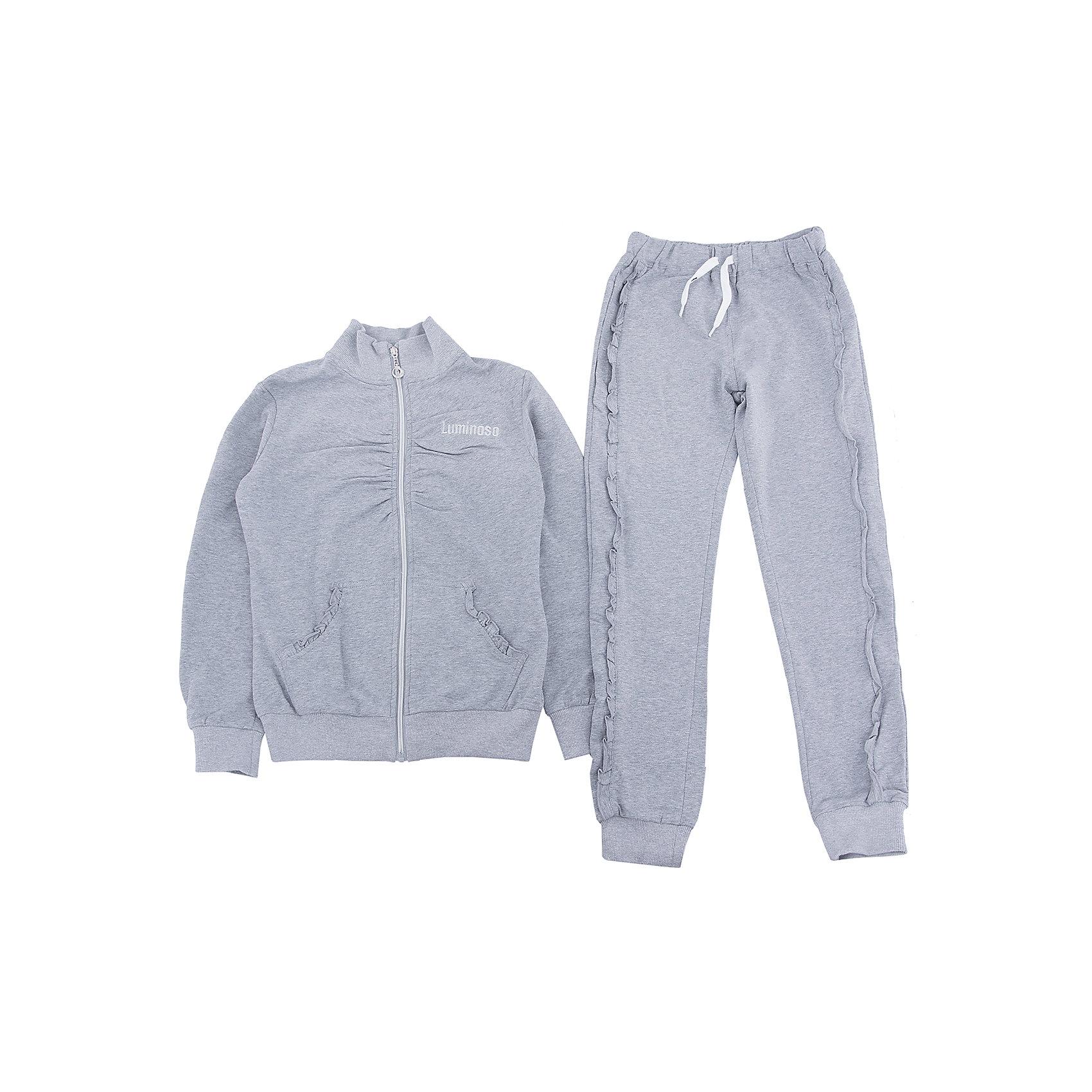 Спортивный костюм для девочки LuminosoСпортивный костюм для девочки от известного бренда Luminoso<br>Спортивный трикотажный костюм для девочек с воротником-стойкой, удобной молнией и с эластичной резинкой на поясе. Модель декорирована сборкой на полоч<br>Состав:<br>95% хлопок, 5% эластан<br><br>Ширина мм: 247<br>Глубина мм: 16<br>Высота мм: 140<br>Вес г: 225<br>Цвет: серый<br>Возраст от месяцев: 120<br>Возраст до месяцев: 132<br>Пол: Женский<br>Возраст: Детский<br>Размер: 146,128,134,140,152,158,164<br>SKU: 4729005