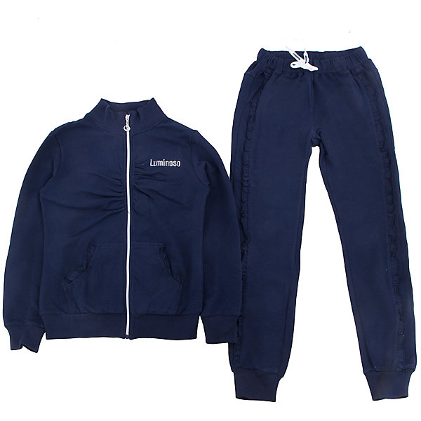 Спортивный костюм для девочки LuminosoСпортивная форма<br>Спортивный костюм для девочки от известного бренда Luminoso<br>Спортивный трикотажный костюм для девочек с воротником-стойкой, удобной молнией и с эластичной резинкой на поясе. Модель декорирована сборкой на полоч<br>Состав:<br>95% хлопок, 5% эластан<br><br>Ширина мм: 247<br>Глубина мм: 16<br>Высота мм: 140<br>Вес г: 225<br>Цвет: синий<br>Возраст от месяцев: 144<br>Возраст до месяцев: 156<br>Пол: Женский<br>Возраст: Детский<br>Размер: 158,134,152,146,128,164,140<br>SKU: 4729013