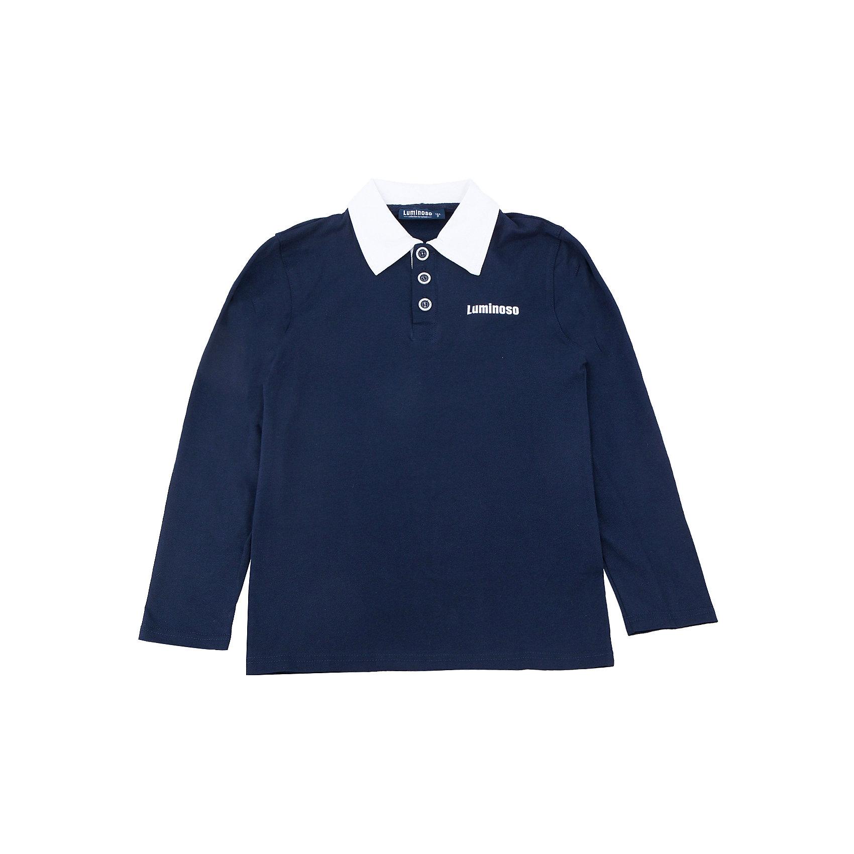 Футболка-поло с длинным рукавом для мальчика LuminosoБлузки и рубашки<br>Футболка-поло с длинным рукавом для мальчика от известного бренда Luminoso.<br>Футболка-поло с длинным рукавом для мальчика выполнена из качественного натурального трикотажа, что обеспечивает комфортность и простоту.<br>Состав:<br>95% хлопок, 5% эластан<br><br>Ширина мм: 190<br>Глубина мм: 74<br>Высота мм: 229<br>Вес г: 236<br>Цвет: синий/белый<br>Возраст от месяцев: 144<br>Возраст до месяцев: 156<br>Пол: Мужской<br>Возраст: Детский<br>Размер: 158,128,134,140,146,152,164<br>SKU: 4729053