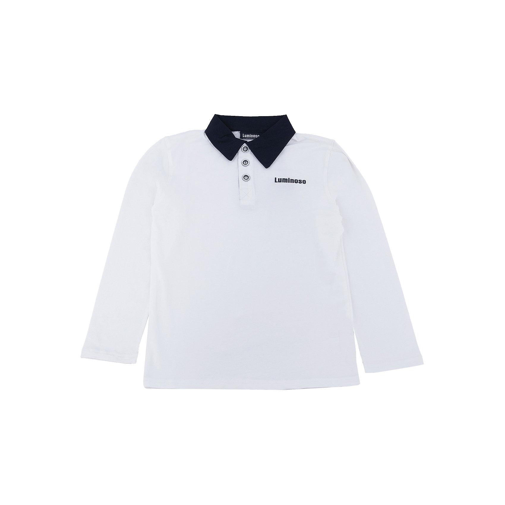 Футболка-поло с длинным рукавом для мальчика LuminosoБлузки и рубашки<br>Футболка-поло с длинным рукавом для мальчика от известного бренда Luminoso.<br>Футболка-поло с длинным рукавом для мальчика выполнена из качественного натурального трикотажа, что обеспечивает комфортность и простоту.<br>Состав:<br>95% хлопок, 5% эластан<br><br>Ширина мм: 190<br>Глубина мм: 74<br>Высота мм: 229<br>Вес г: 236<br>Цвет: белый/синий<br>Возраст от месяцев: 132<br>Возраст до месяцев: 144<br>Пол: Мужской<br>Возраст: Детский<br>Размер: 152,128,134,140,146,158,164<br>SKU: 4729069