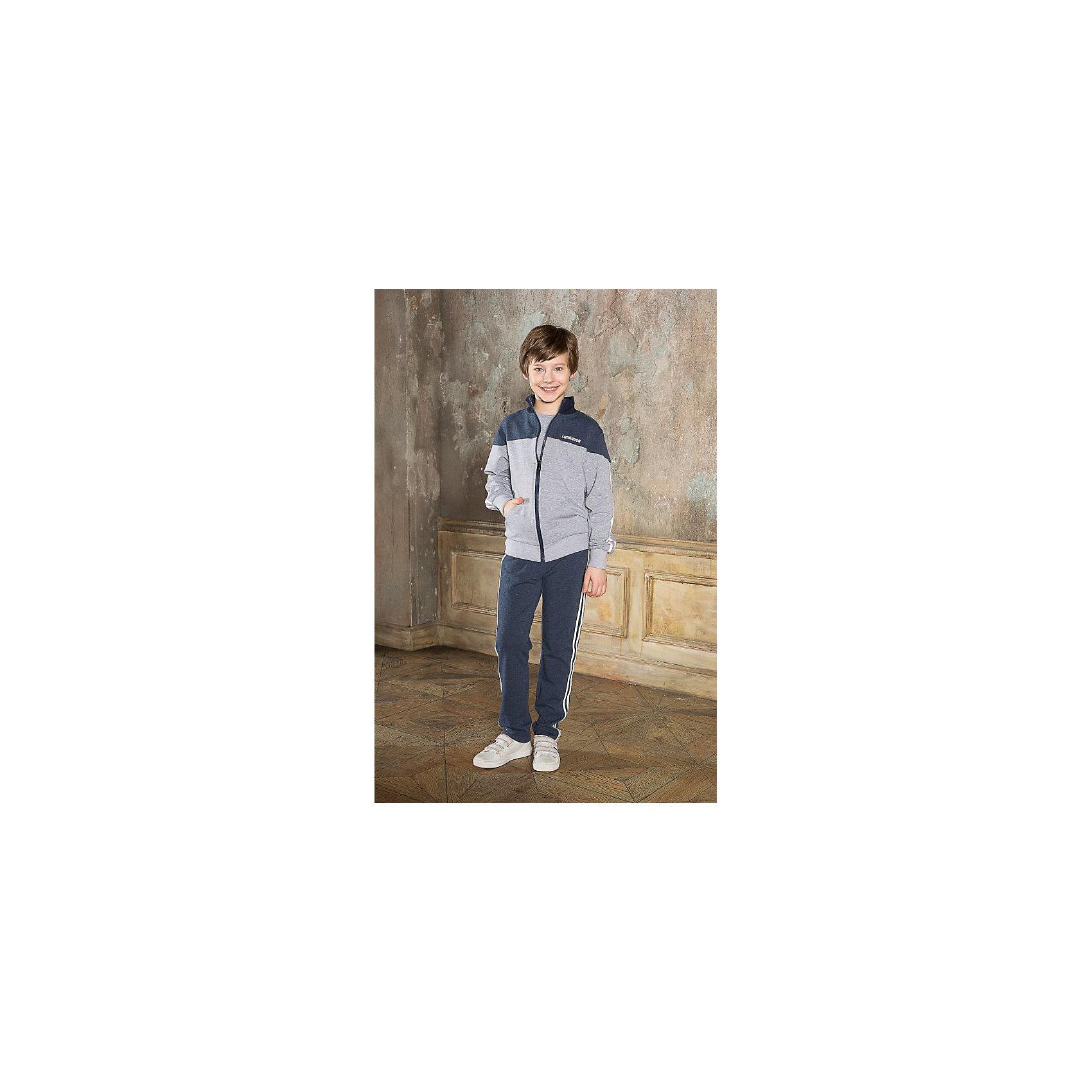 Спортивный костюм для мальчика LuminosoСпортивный костюм для мальчика от известного бренда Luminoso<br>Трикотажный спортивный костюм для мальчика с воротником-стойка и с лампасами. Брюки прямого кроя с брендированными шнурками на поясе.<br>Состав:<br>95% хлопок, 5% эластан<br><br>Ширина мм: 247<br>Глубина мм: 16<br>Высота мм: 140<br>Вес г: 225<br>Цвет: серый<br>Возраст от месяцев: 156<br>Возраст до месяцев: 168<br>Пол: Мужской<br>Возраст: Детский<br>Размер: 164,134,128,158,152,146,140<br>SKU: 4729109