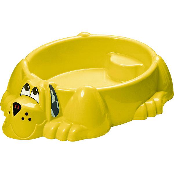 Бассейн-песочница Собачка, желтая, PalPlayИграем в песочнице<br>Песочница-бассейн Собачка Marianplast (Марианпласт) обязательно понравится Вашему малышу и станет его любимым местом для игр. Малыши очень любят игры в песке, куличики, а также игры с водой. Песочница Собачка совмещает в себе эти две игровые возможности, ее можно использовать и как песочницу и как минибассейн. Благодаря своим компактным<br>размерам песочницу подойдет как для игры на улице, на даче, так и в закрытом помещении.<br><br>Песочница-басейн выполнена в виде забавного песика, внутри имеются фигурные выступы (в голове и хвосте собаки), на которые малыши смогут присесть и отдохнуть. В песочнице могут разместиться двое детей. Песочница округлой формы без острых углов, высота бортика - 25 см. В комплект также входят наклейки в виде глазок, носа и ушей собачки.<br><br>Дополнительная информация:<br><br>- В комплекте: песочница-бассейн, наклейки (уши, нос, глаза собаки). <br>- Материал: высокопрочный морозостойкий пластик.<br>- Размер: 92 х 115 х 25 см.<br>- Вес: 4 кг.<br><br>Бассейн - Собачку от Marianplast (Марианпласт) можно купить в нашем интернет-магазине.<br><br>Ширина мм: 1150<br>Глубина мм: 920<br>Высота мм: 265<br>Вес г: 4040<br>Возраст от месяцев: 24<br>Возраст до месяцев: 96<br>Пол: Унисекс<br>Возраст: Детский<br>SKU: 4729134