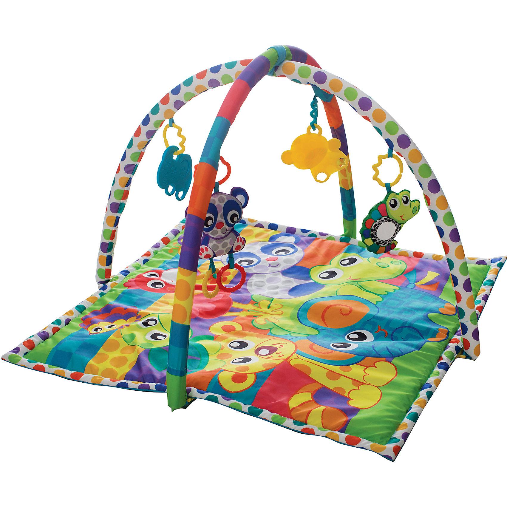 Игрушка активный центр В мире животных, PlaygroИгрушки для малышей<br>Игровой центр с двумя дугами и 4-мя подвесками (2 пластиковые и 2 текстильные с пластиковыми вставками) обязательно понравится вашему малышу. Подвески легко снимаются и могут использоваться отдельно. Яркие цвета и материалы разных фактур способствуют развитию визуального восприятия, тактильных ощущений, моторики. Коврик легко и быстро складывается, его удобно брать с собой на прогулки, в гости или же поездки. <br><br>Дополнительная информация:<br><br>- Материал: пластик, текстиль.<br>- Размер упаковки: 63х56 см.<br>- Съемные игрушки и дуги<br>- В комплекте: коврик, дуги, 4 игрушки. <br><br>Игрушку Активный центр В мире животных, Playgro (Плейгро), можно купить в нашем магазине.<br><br>Ширина мм: 630<br>Глубина мм: 70<br>Высота мм: 560<br>Вес г: 1030<br>Возраст от месяцев: 0<br>Возраст до месяцев: 18<br>Пол: Унисекс<br>Возраст: Детский<br>SKU: 4729139