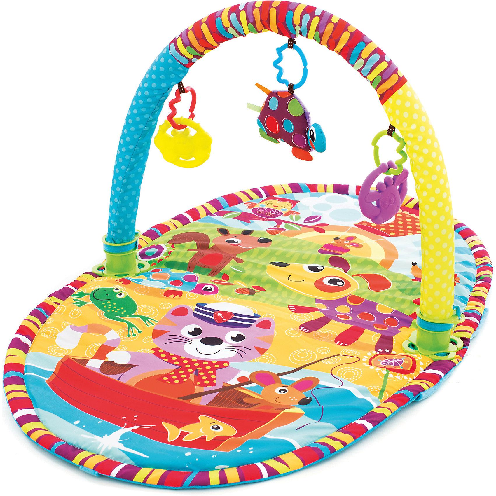 Игрушка активный центр Прогулка, PlaygroИгровые столики и центры<br>Яркий, компактный центр с одной дугой (легко снимается в случае необходимости) обязательно понравится малышам.  В комплекте  3 съемные подвески (две пластиковые и одна мягкая черепашка). Яркие цвета и материалы разных фактур способствуют развитию визуального восприятия, тактильных ощущений, моторики.  Коврик легко складывается, его удобно брать с собой в поездки, на прогулки или в гости. Выполнен из высококачественных экологичных материалов безопасных для детей. <br><br>Дополнительная информация:<br><br>- Материал: пластик, текстиль.<br>- Размер: 95х41х57 см.<br>- Съемные игрушки и дуга. <br>- Дугу можно прикрепить на кроватку или манеж. <br><br>Игрушку Активный центр Прогулка, Playgro (Плейгро), можно купить в нашем магазине.<br><br>Ширина мм: 470<br>Глубина мм: 470<br>Высота мм: 570<br>Вес г: 880<br>Возраст от месяцев: 0<br>Возраст до месяцев: 18<br>Пол: Унисекс<br>Возраст: Детский<br>SKU: 4729140